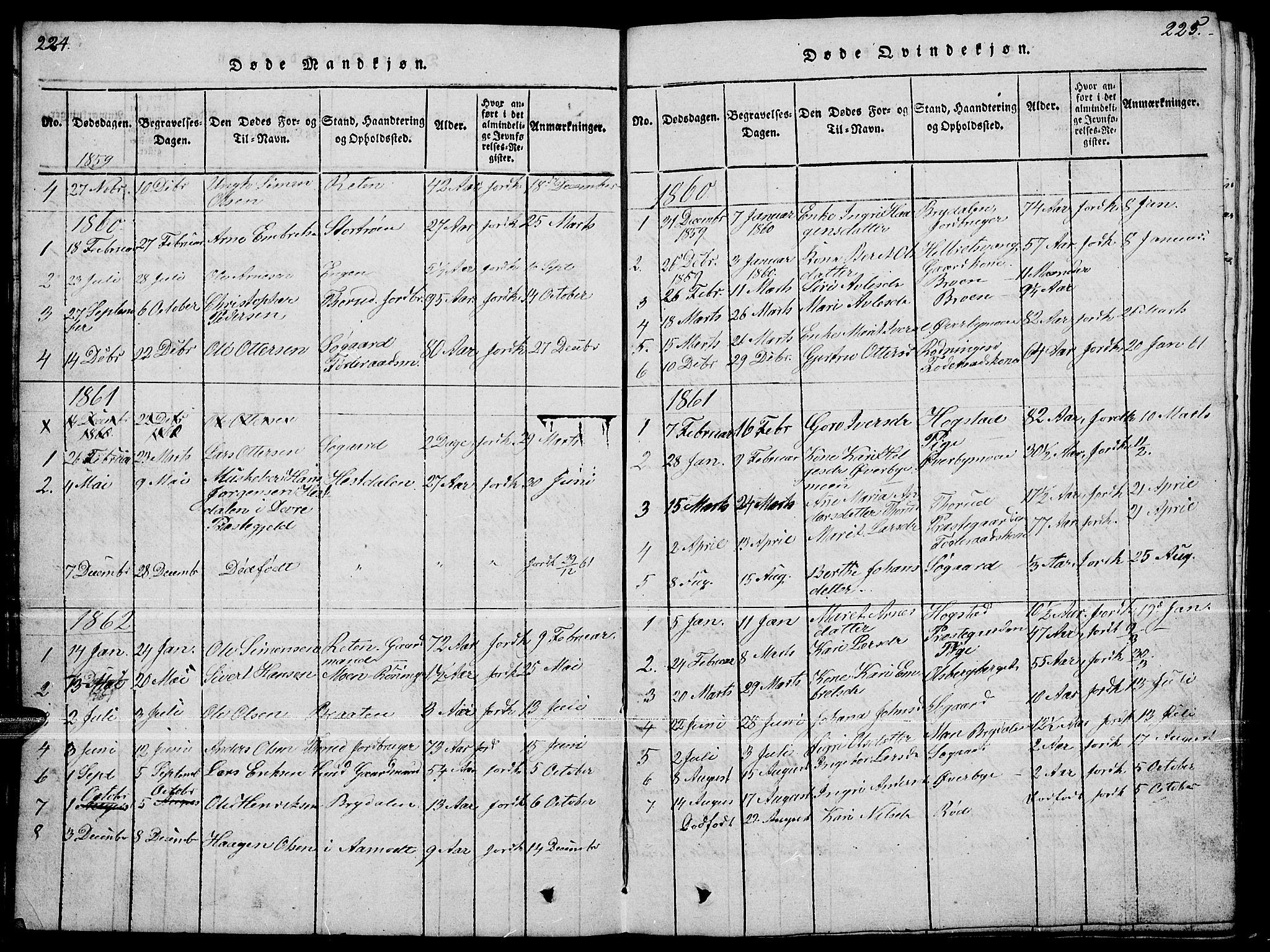 SAH, Tynset prestekontor, Klokkerbok nr. 4, 1814-1879, s. 224-225