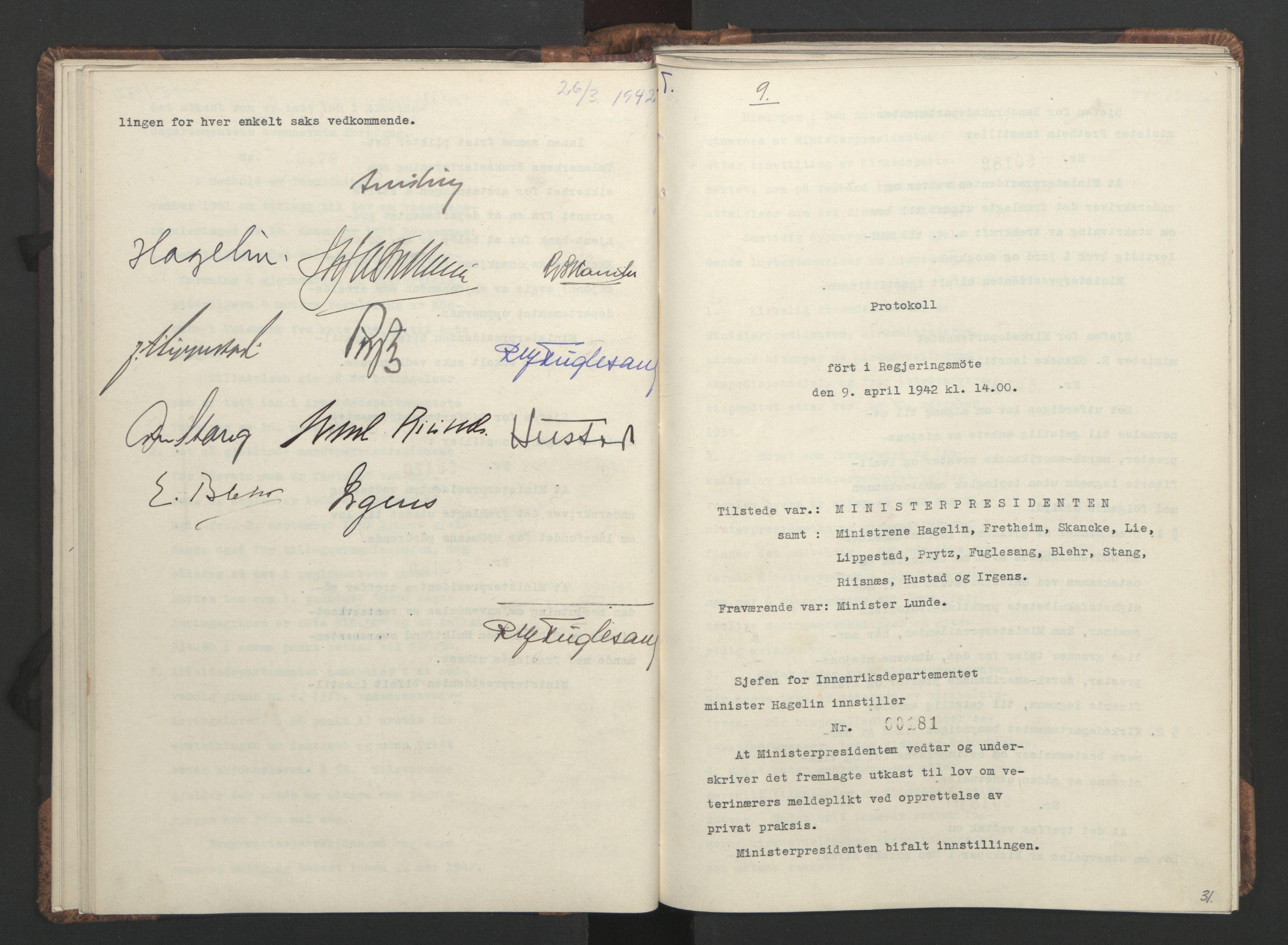 RA, NS-administrasjonen 1940-1945 (Statsrådsekretariatet, de kommisariske statsråder mm), D/Da/L0001: Beslutninger og tillegg (1-952 og 1-32), 1942, s. 30b-31a
