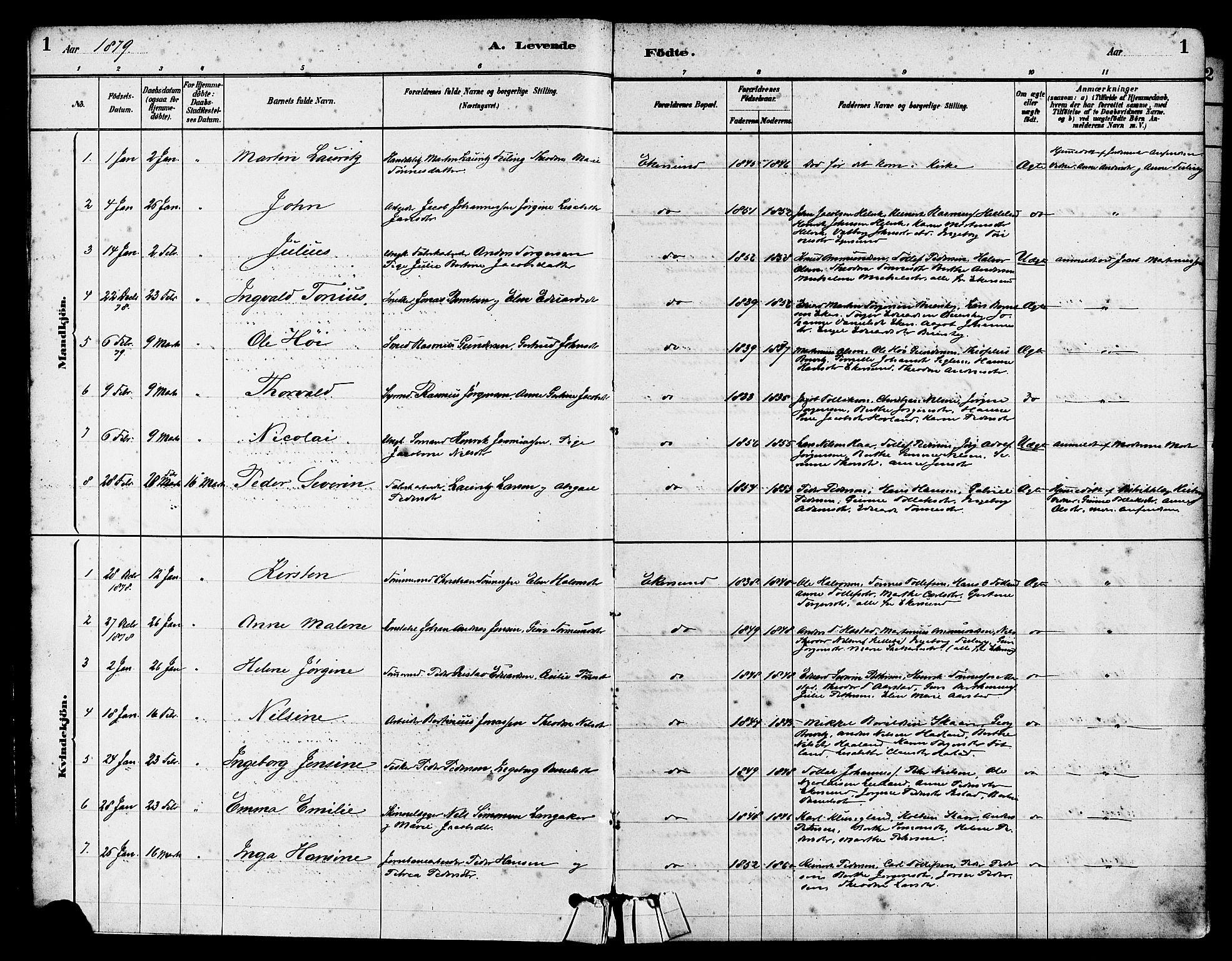 SAST, Egersund sokneprestkontor, S08/L0015: Ministerialbok nr. A 15, 1879-1892, s. 1