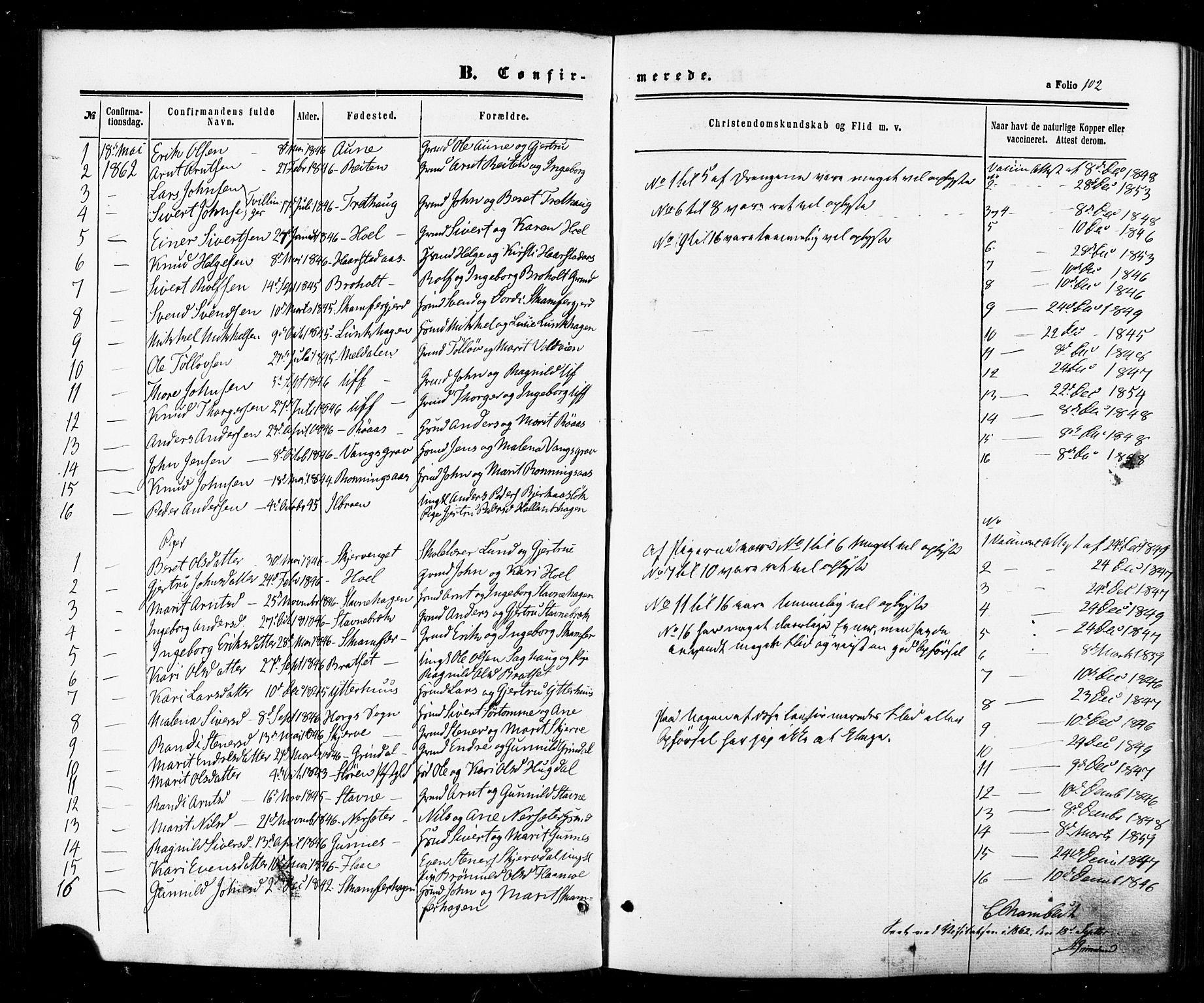 SAT, Ministerialprotokoller, klokkerbøker og fødselsregistre - Sør-Trøndelag, 674/L0870: Ministerialbok nr. 674A02, 1861-1879, s. 102