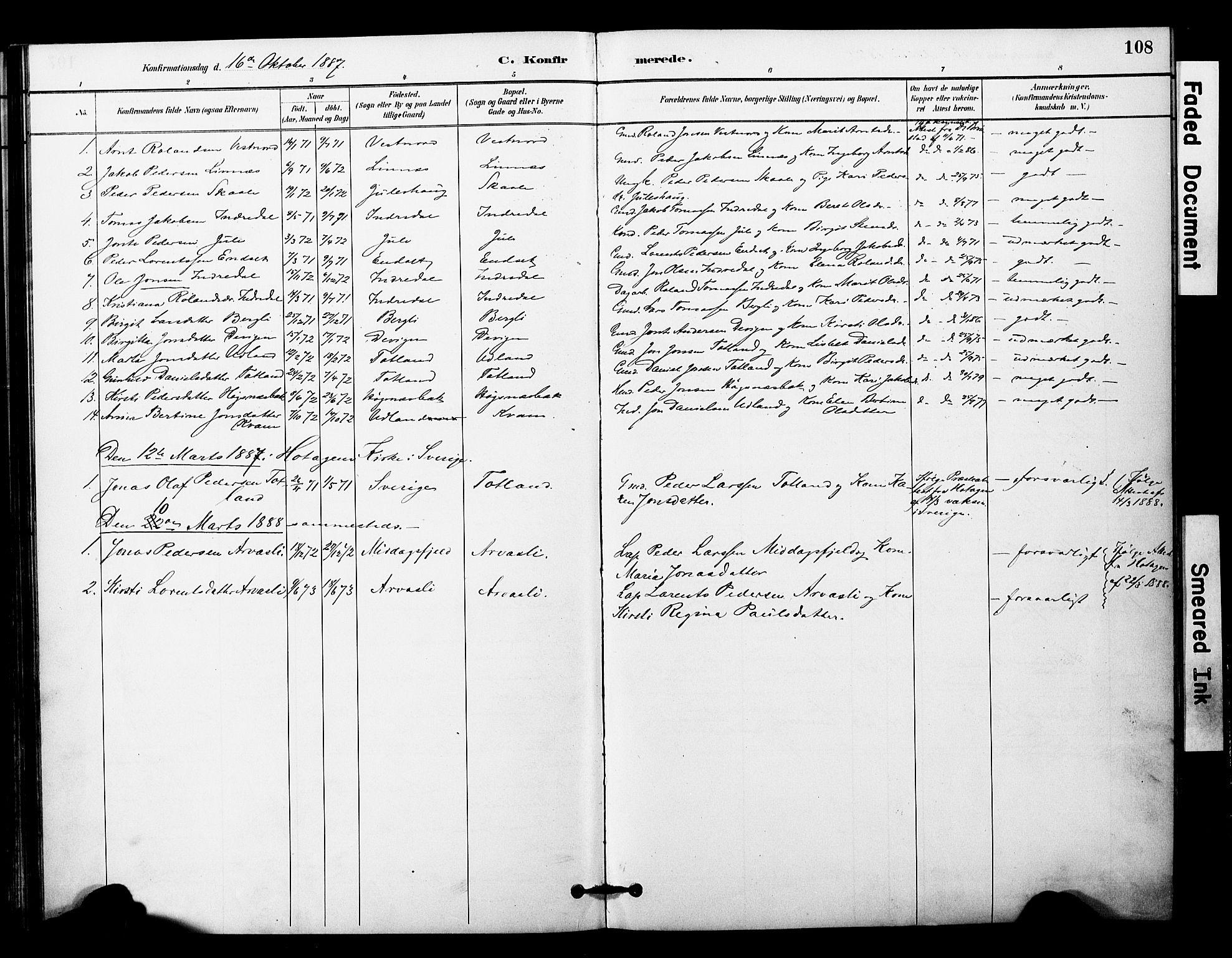 SAT, Ministerialprotokoller, klokkerbøker og fødselsregistre - Nord-Trøndelag, 757/L0505: Ministerialbok nr. 757A01, 1882-1904, s. 108