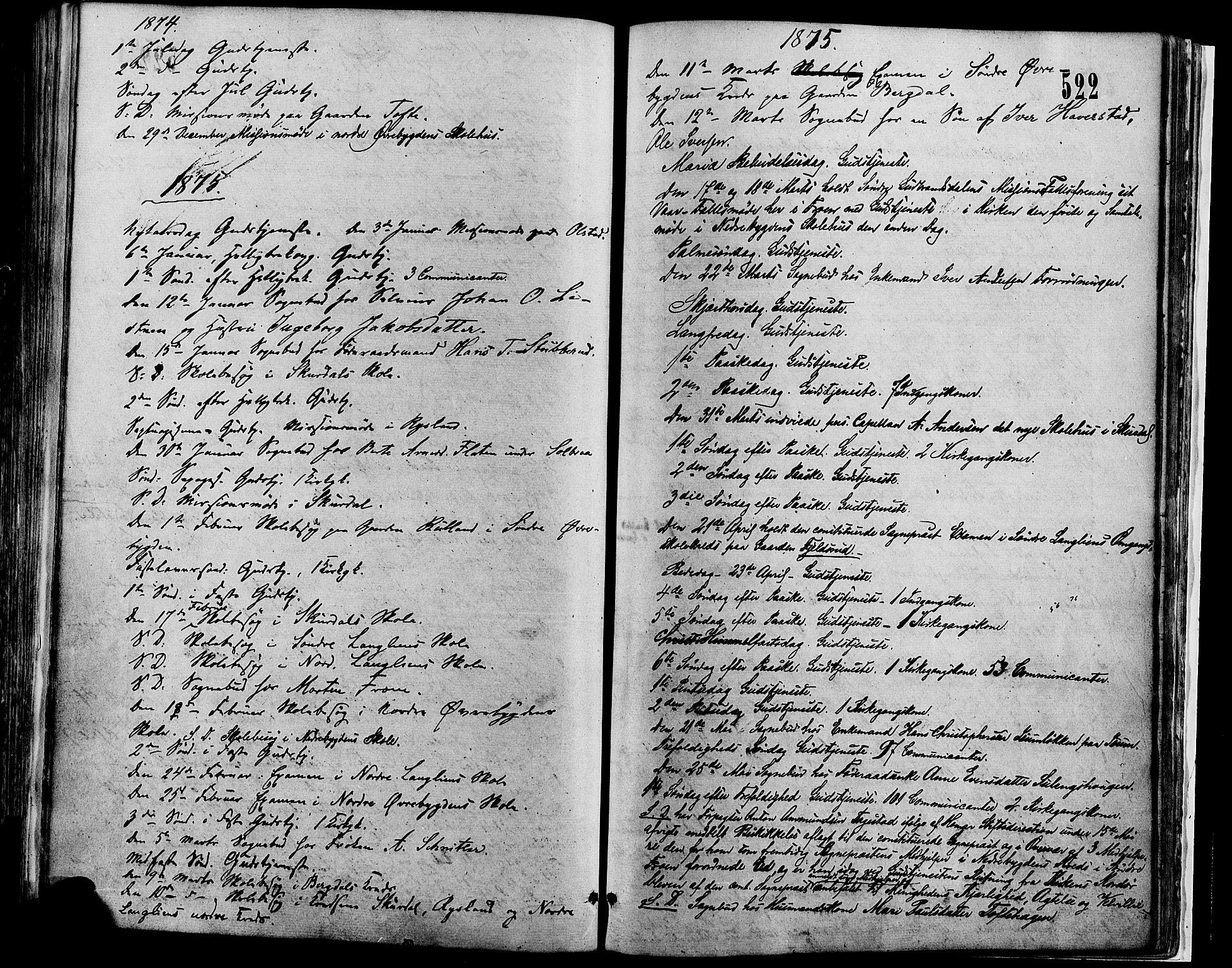 SAH, Sør-Fron prestekontor, H/Ha/Haa/L0002: Ministerialbok nr. 2, 1864-1880, s. 522