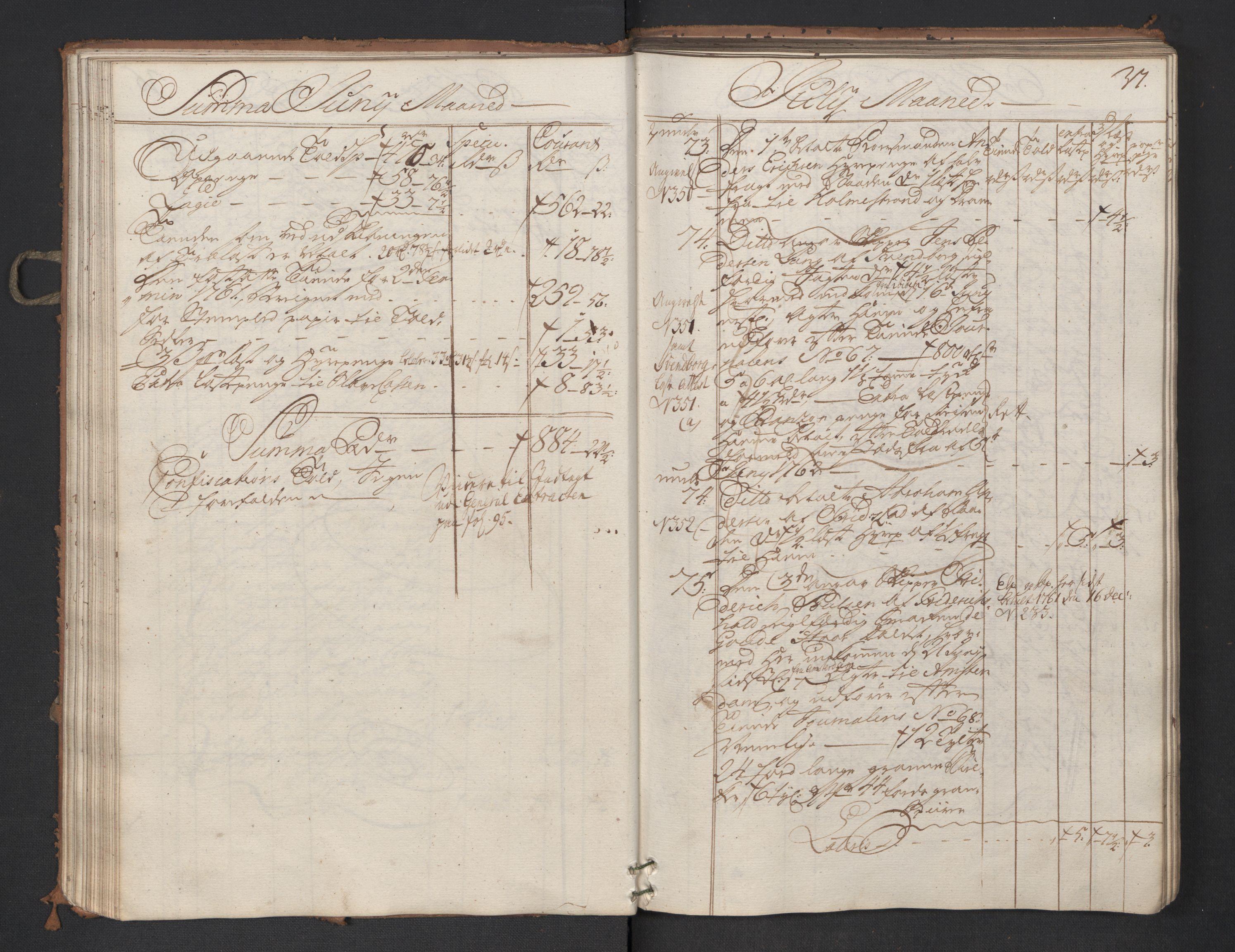 RA, Generaltollkammeret, tollregnskaper, R01/L0047: Tollregnskaper Fredrikshald, 1762, s. 36b-37a