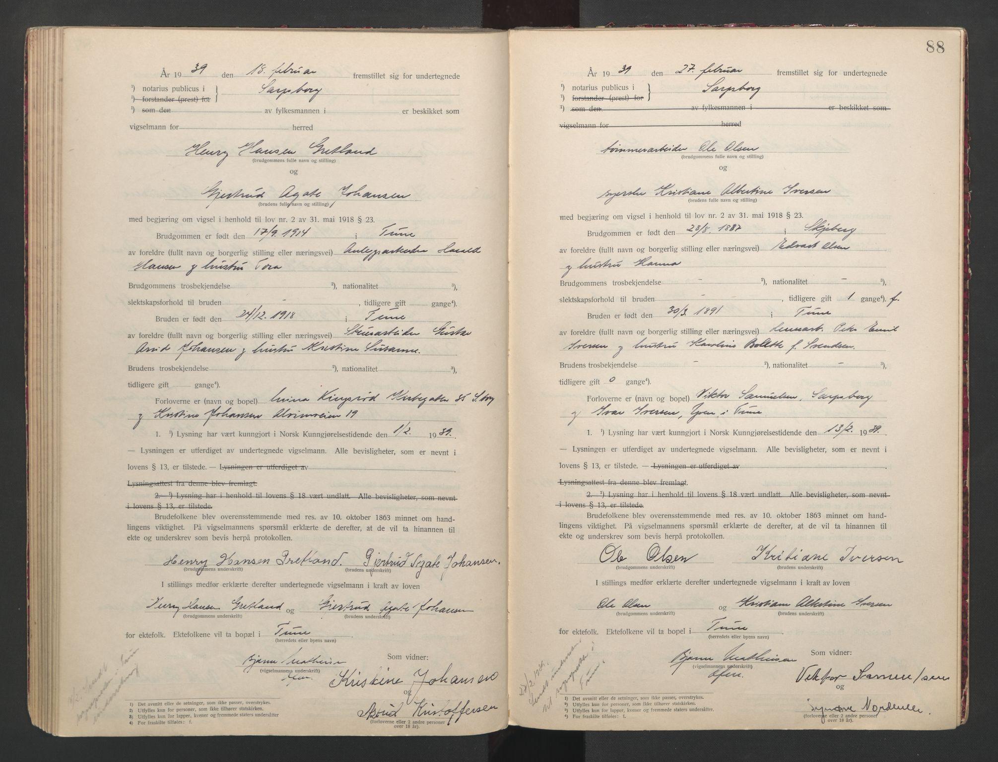 SAO, Sarpsborg byfogd, L/Lb/Lba/L0001: Vigselbok, 1920-1941, s. 88