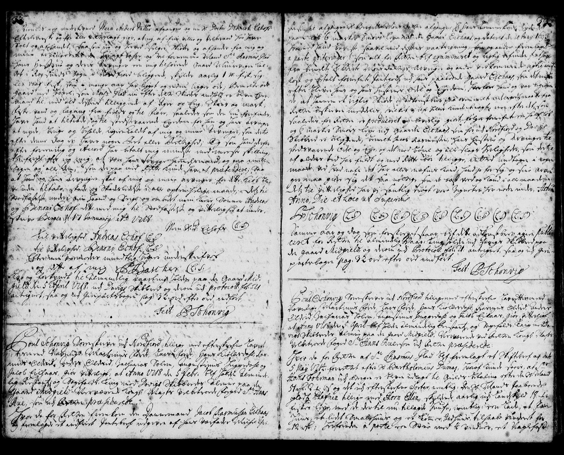 SAB, Nordfjord sorenskriveri, 02/02b/02ba/L0002: Pantebok nr. II.B.a.2, 1717-1723, s. 32-33