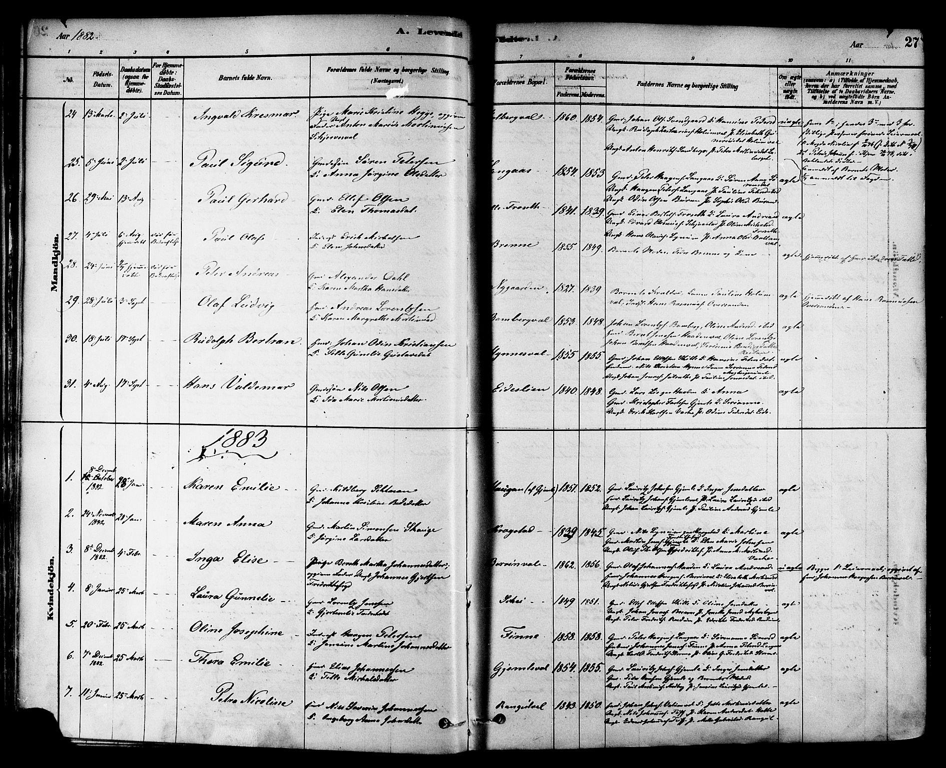 SAT, Ministerialprotokoller, klokkerbøker og fødselsregistre - Nord-Trøndelag, 717/L0159: Ministerialbok nr. 717A09, 1878-1898, s. 27