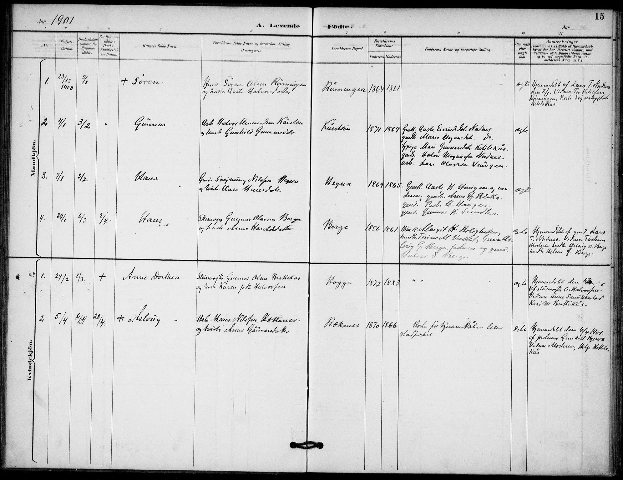 SAKO, Lunde kirkebøker, F/Fb/L0004: Ministerialbok nr. II 4, 1892-1907, s. 15