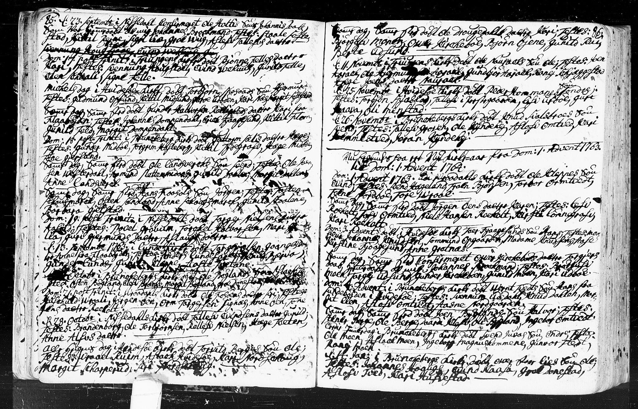 SAKO, Kviteseid kirkebøker, F/Fa/L0001: Ministerialbok nr. I 1, 1754-1773, s. 85-86