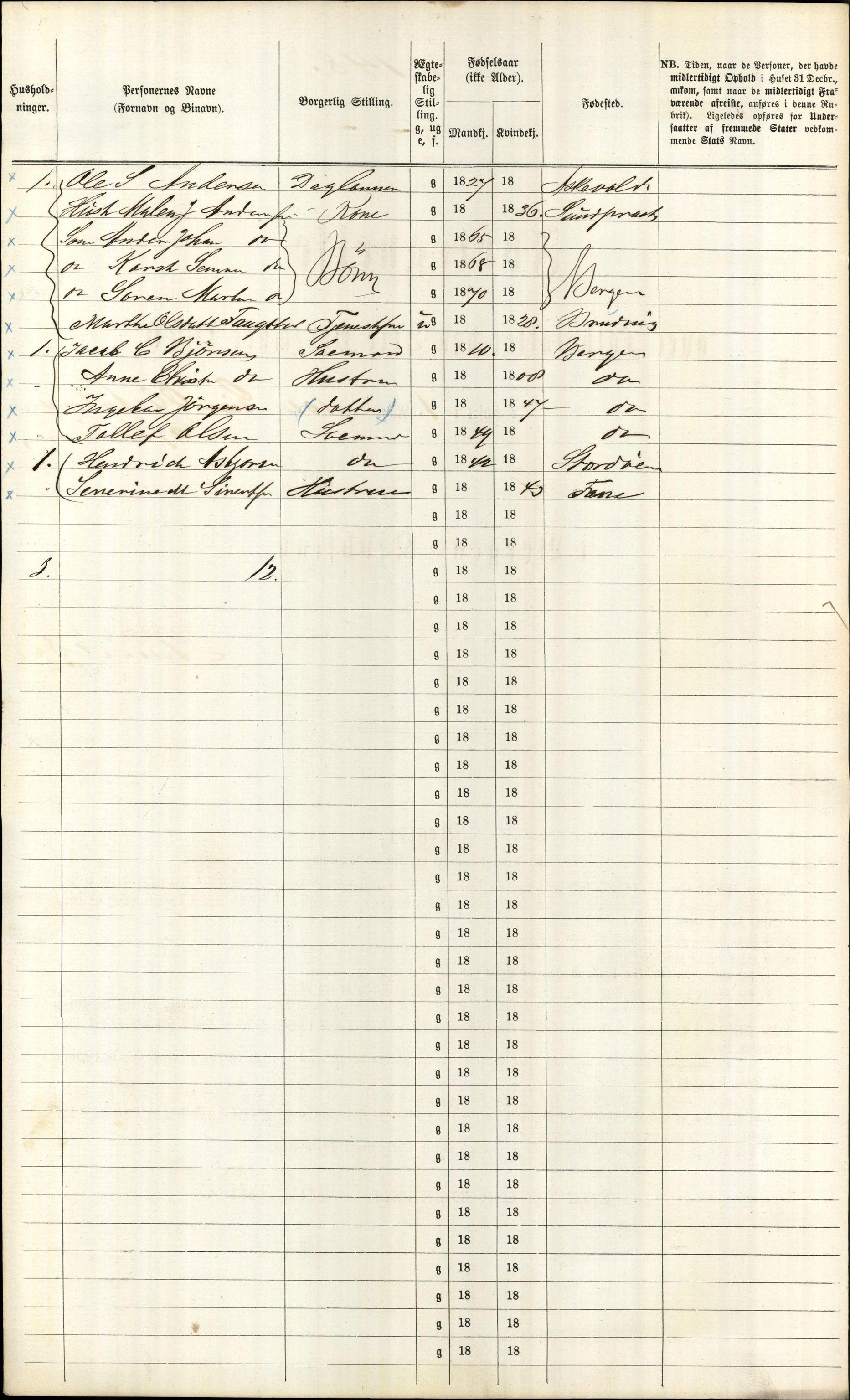 RA, Folketelling 1870 for 1301 Bergen kjøpstad, 1870