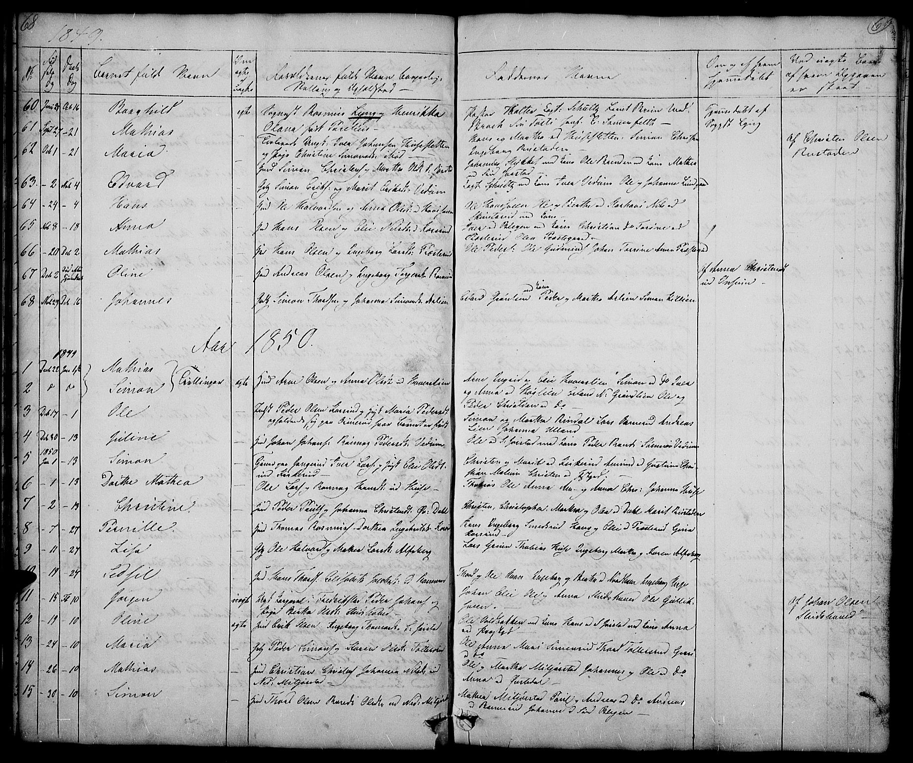 SAH, Fåberg prestekontor, Klokkerbok nr. 5, 1837-1864, s. 68-69