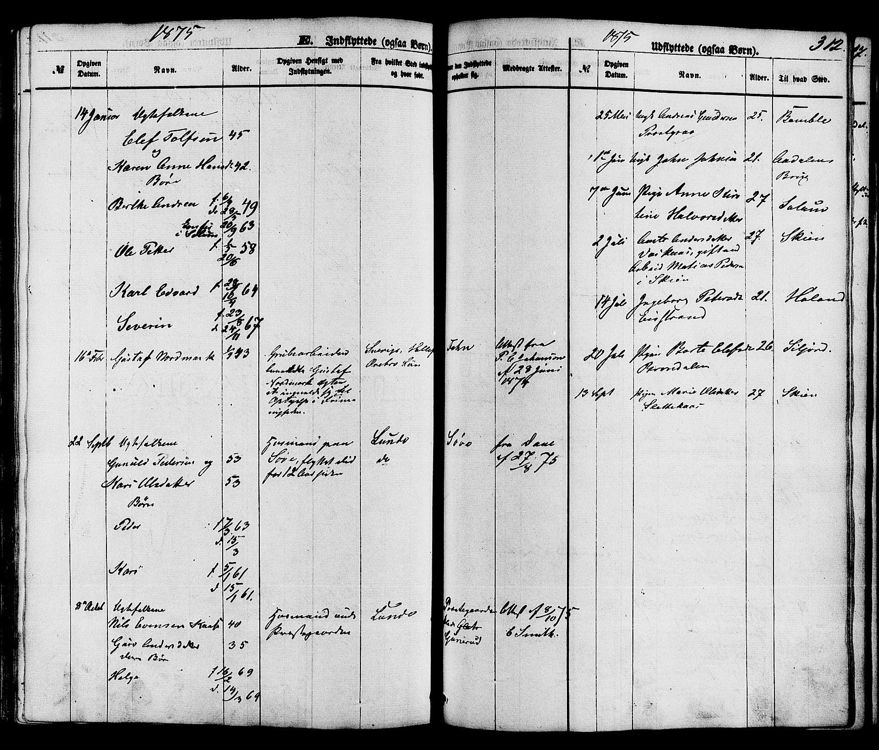 SAKO, Holla kirkebøker, F/Fa/L0007: Ministerialbok nr. 7, 1869-1881, s. 312