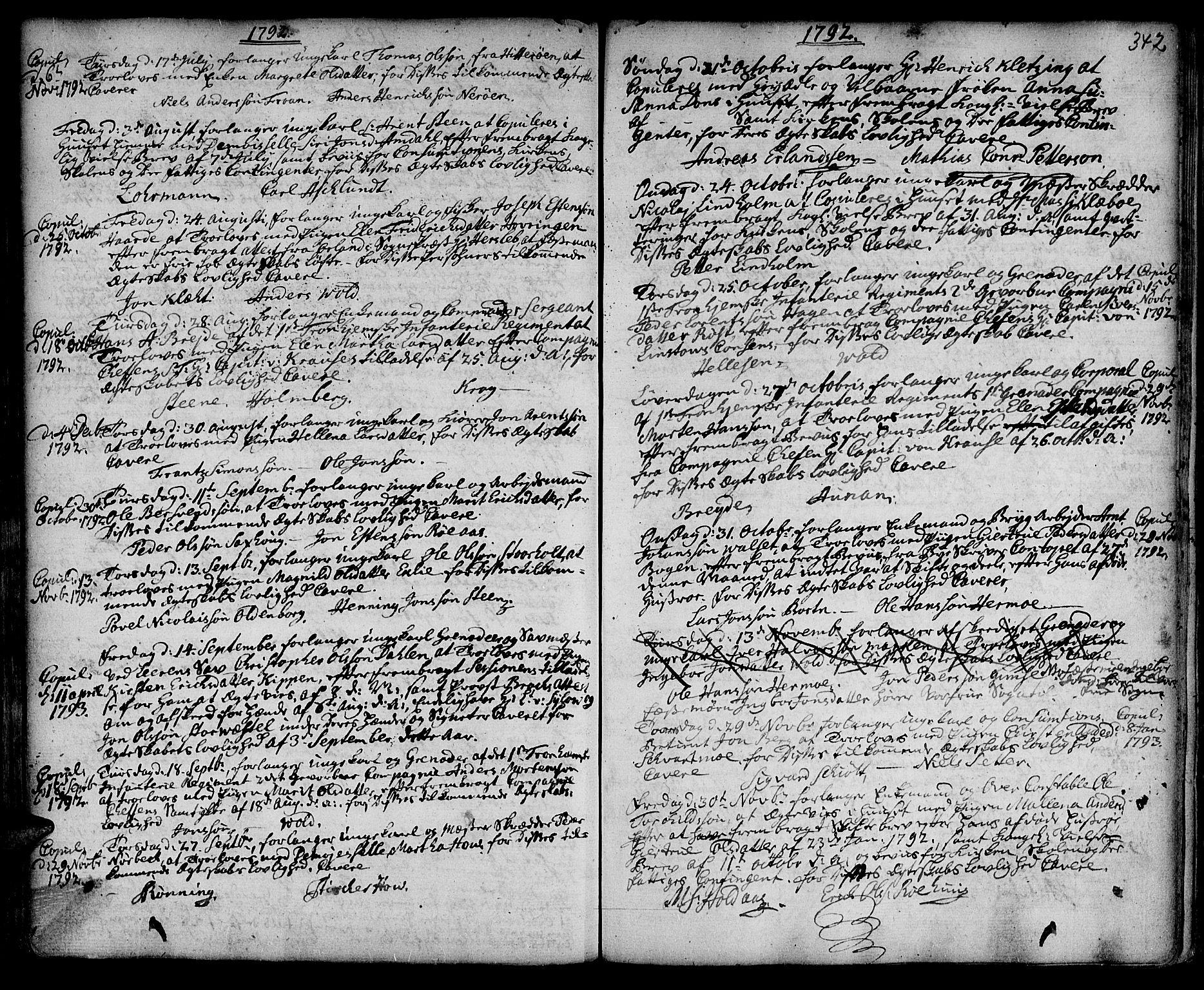 SAT, Ministerialprotokoller, klokkerbøker og fødselsregistre - Sør-Trøndelag, 601/L0038: Ministerialbok nr. 601A06, 1766-1877, s. 342