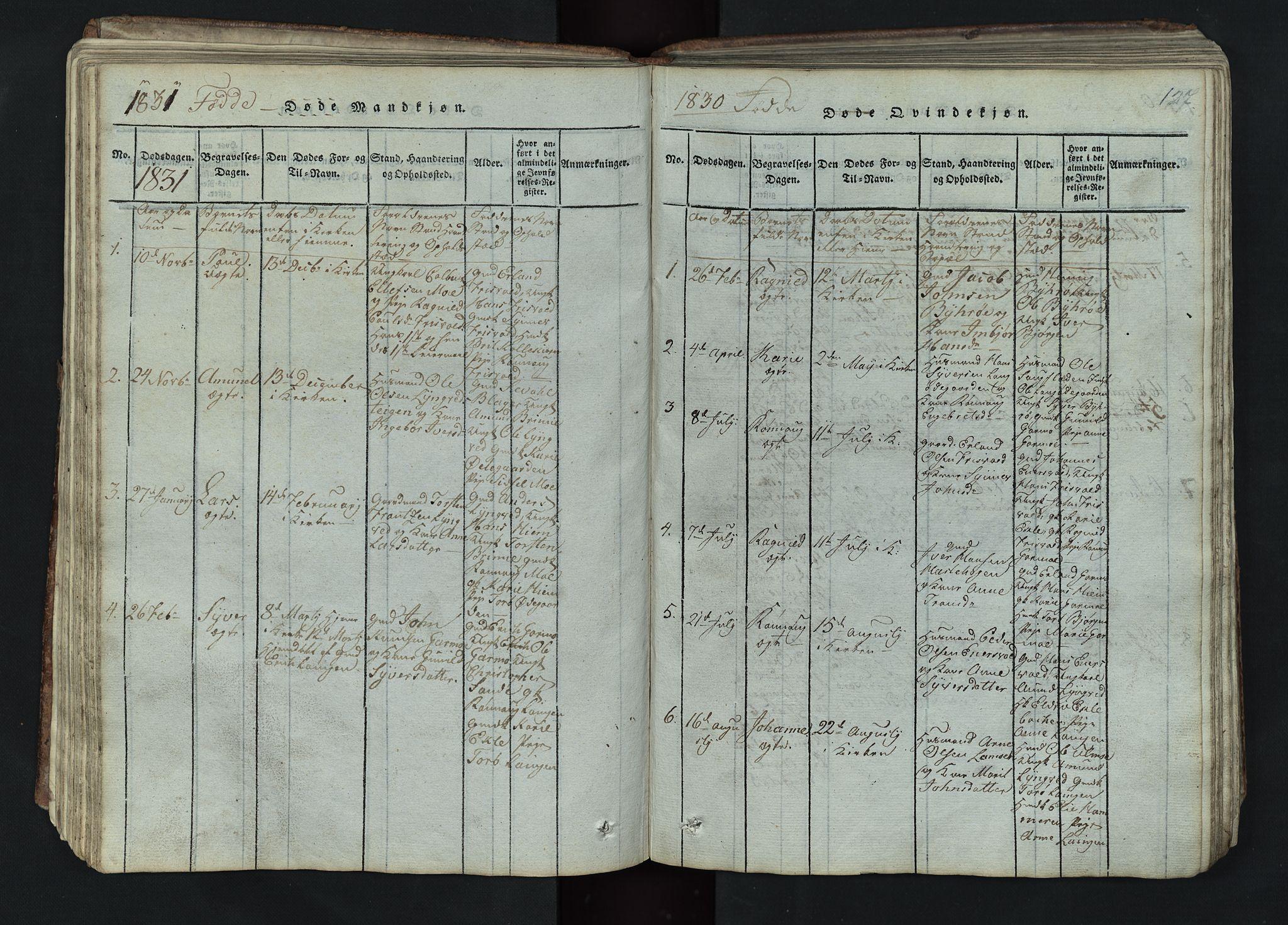 SAH, Lom prestekontor, L/L0002: Klokkerbok nr. 2, 1815-1844, s. 127