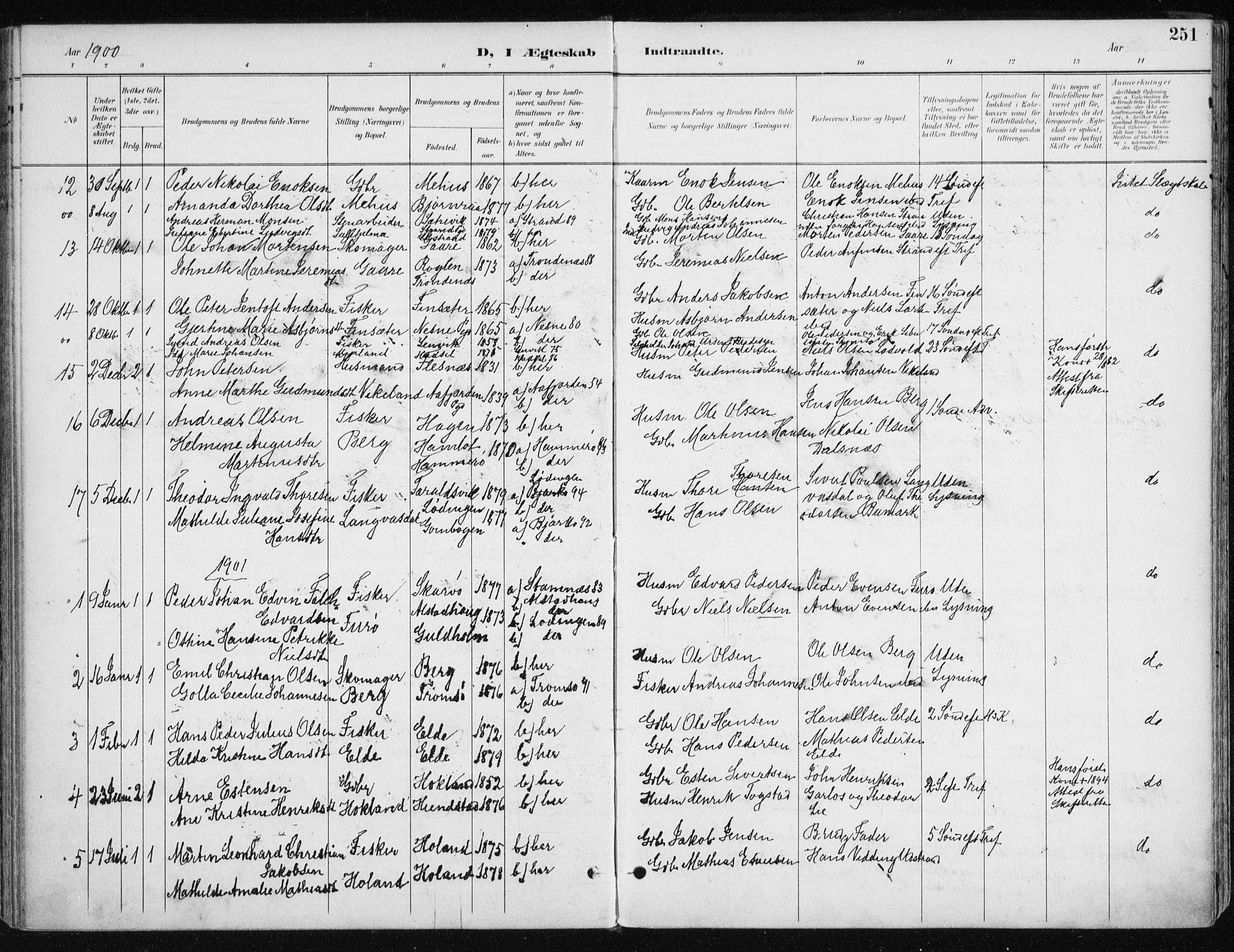 SATØ, Kvæfjord sokneprestkontor, G/Ga/Gaa/L0006kirke: Ministerialbok nr. 6, 1895-1914, s. 251