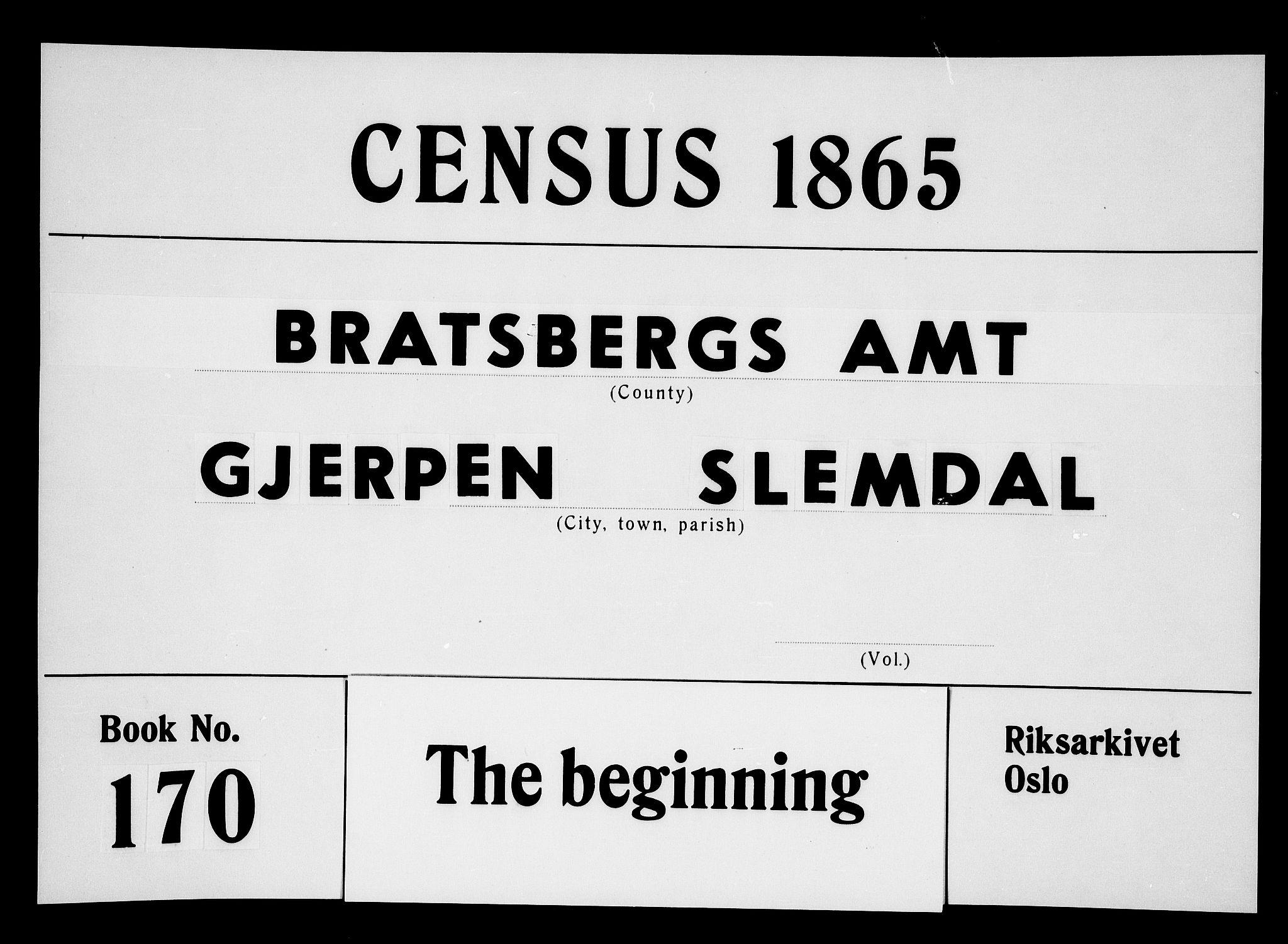 RA, Folketelling 1865 for 0812P Gjerpen prestegjeld, 1865, s. 1