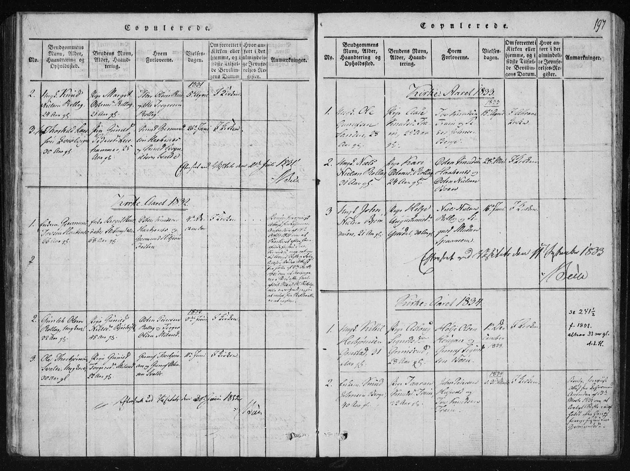 SAKO, Tinn kirkebøker, F/Fb/L0001: Ministerialbok nr. II 1, 1815-1843, s. 197