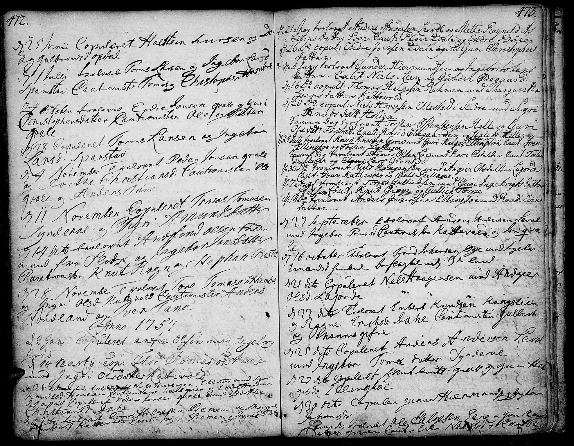 SAH, Vang prestekontor, Valdres, Ministerialbok nr. 1, 1730-1796, s. 472-473