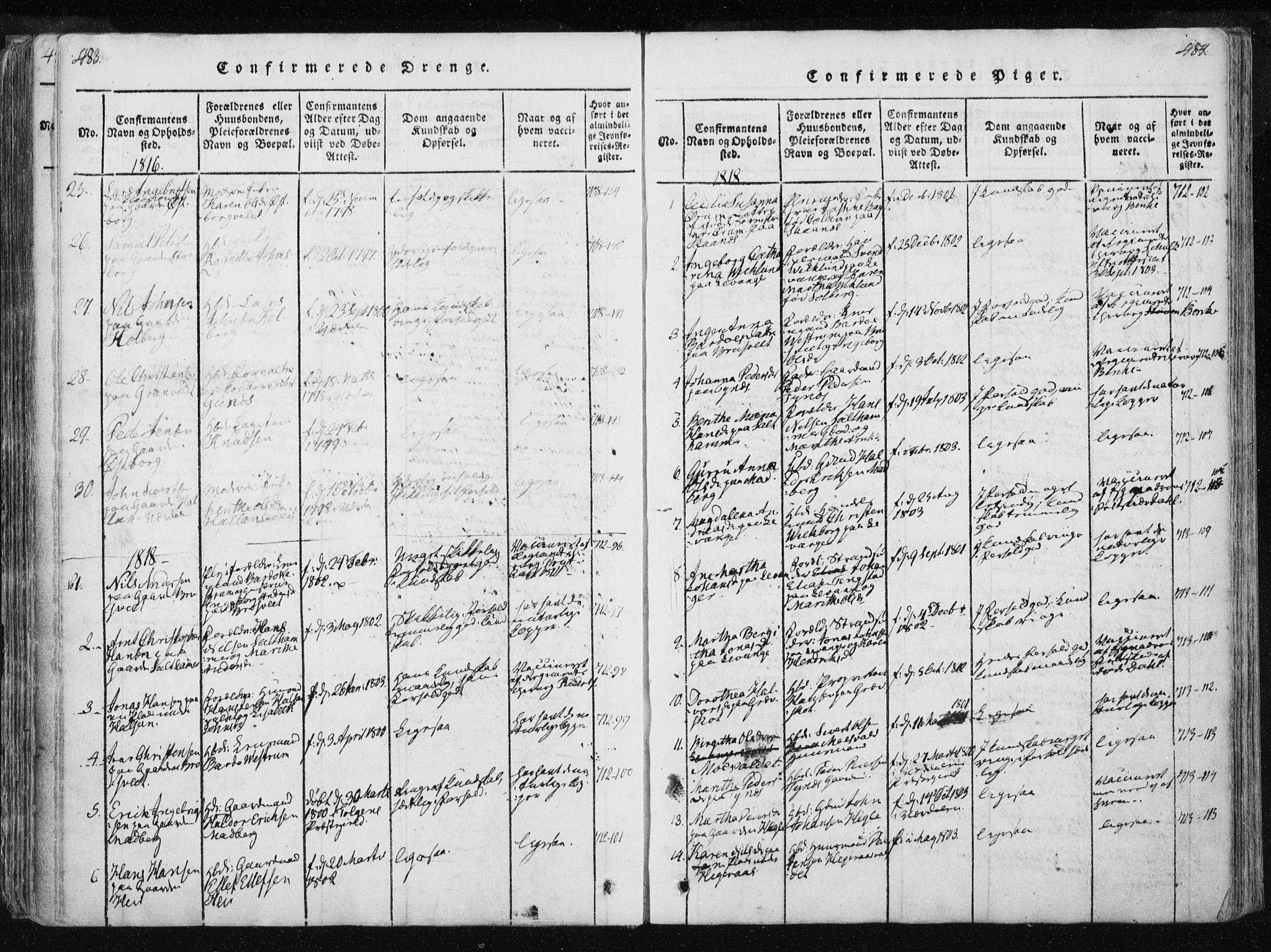 SAT, Ministerialprotokoller, klokkerbøker og fødselsregistre - Nord-Trøndelag, 717/L0148: Ministerialbok nr. 717A04 /2, 1816-1825, s. 483-484