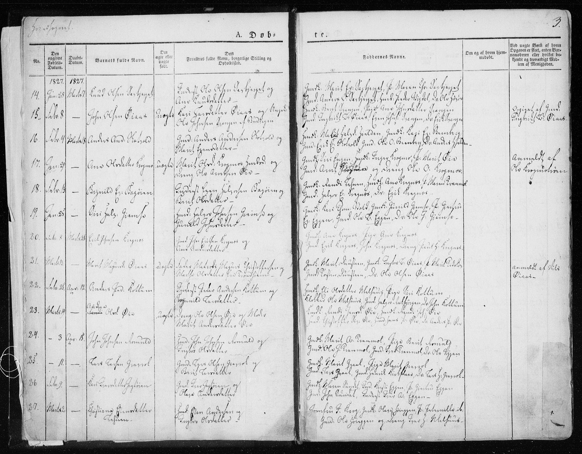 SAT, Ministerialprotokoller, klokkerbøker og fødselsregistre - Sør-Trøndelag, 691/L1069: Ministerialbok nr. 691A04, 1826-1841, s. 3