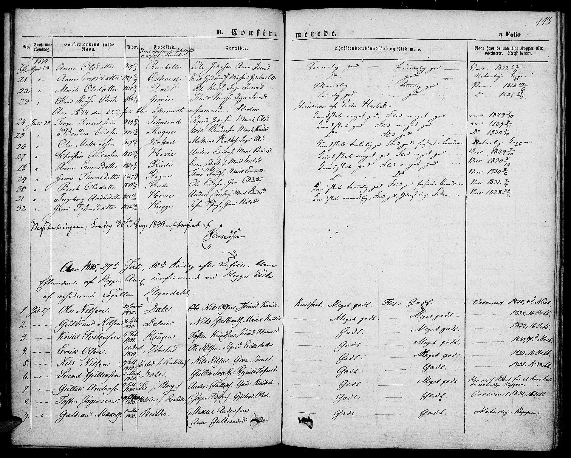 SAH, Slidre prestekontor, Ministerialbok nr. 4, 1831-1848, s. 113
