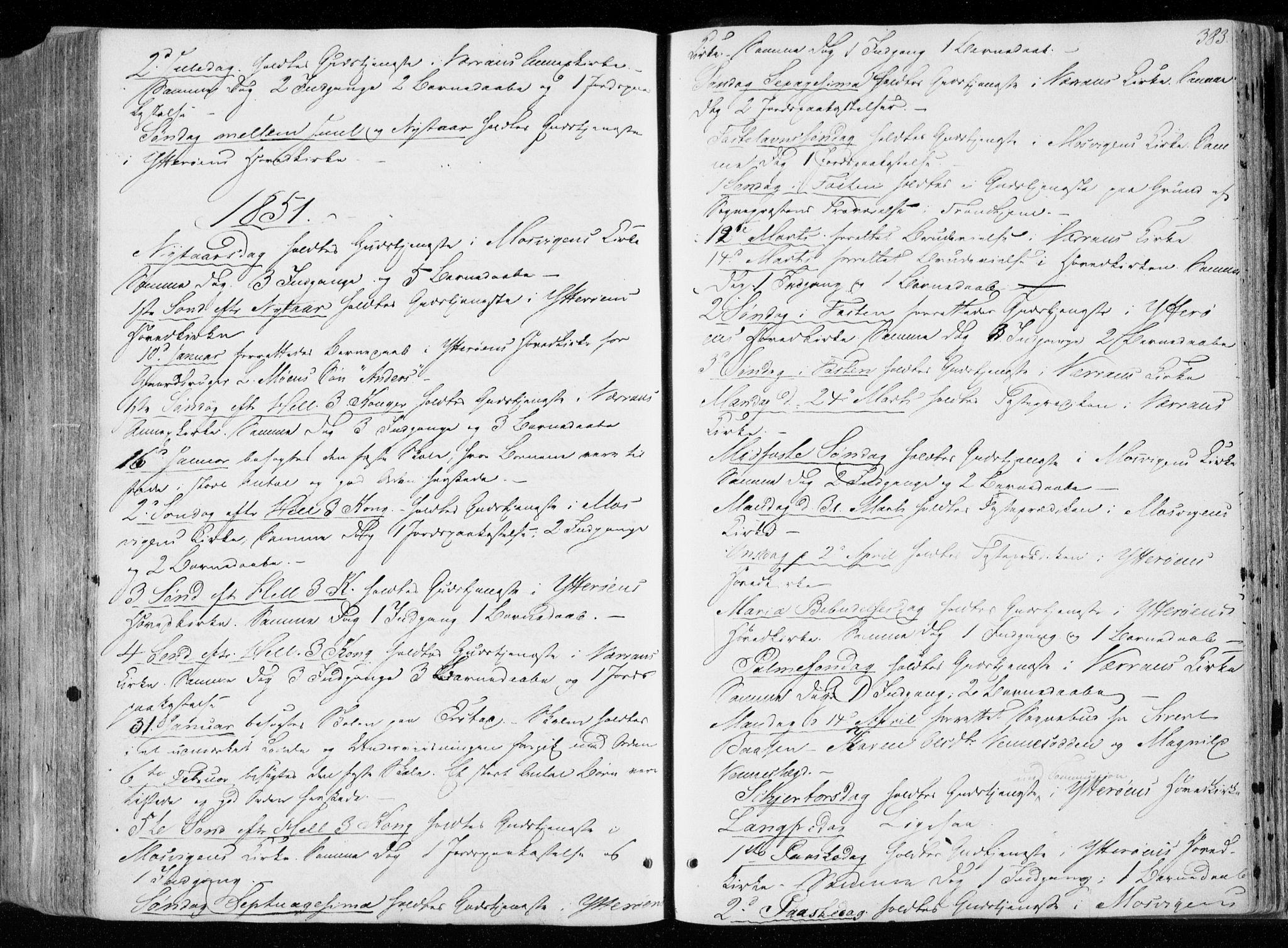 SAT, Ministerialprotokoller, klokkerbøker og fødselsregistre - Nord-Trøndelag, 722/L0218: Ministerialbok nr. 722A05, 1843-1868, s. 383