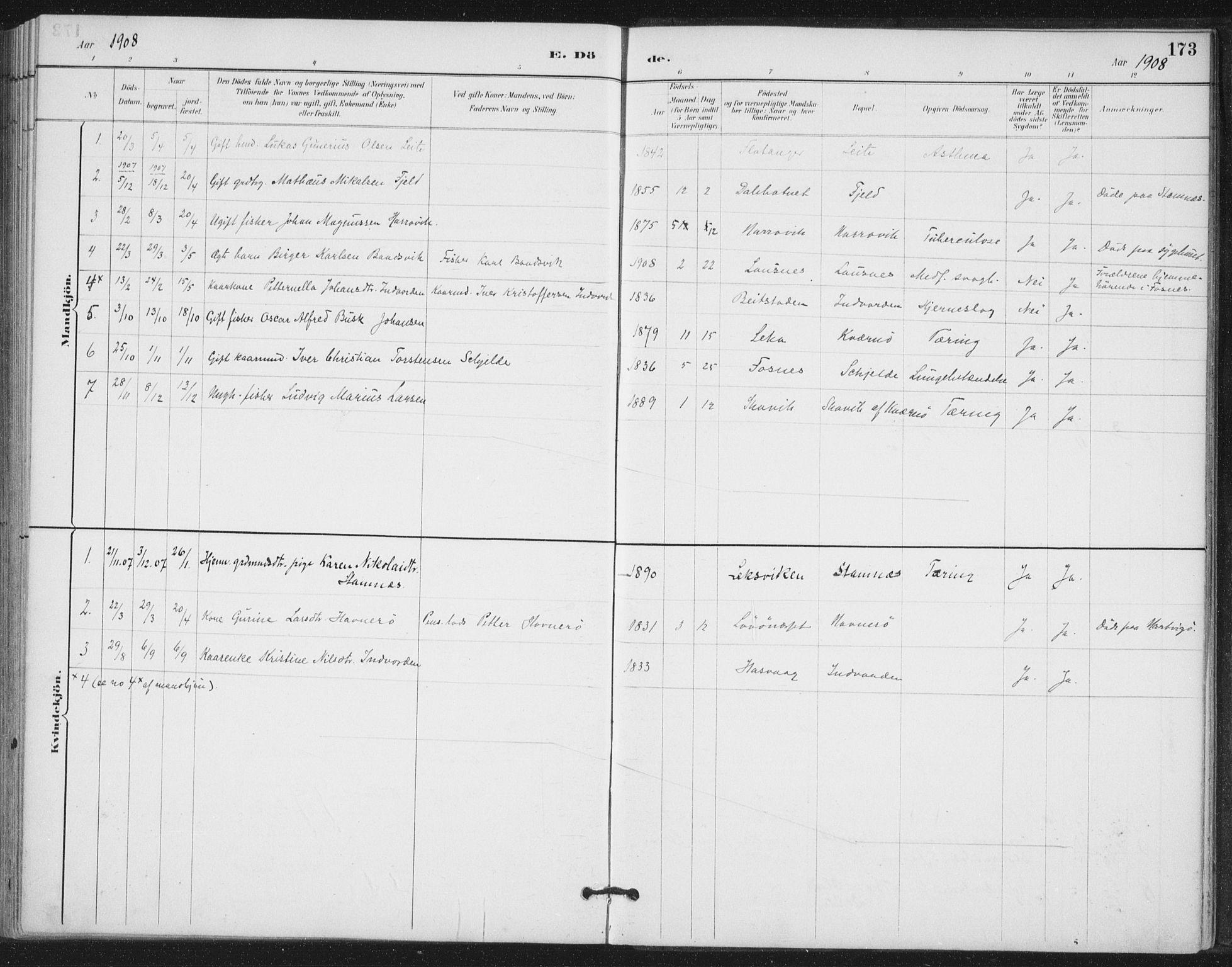 SAT, Ministerialprotokoller, klokkerbøker og fødselsregistre - Nord-Trøndelag, 772/L0603: Ministerialbok nr. 772A01, 1885-1912, s. 173