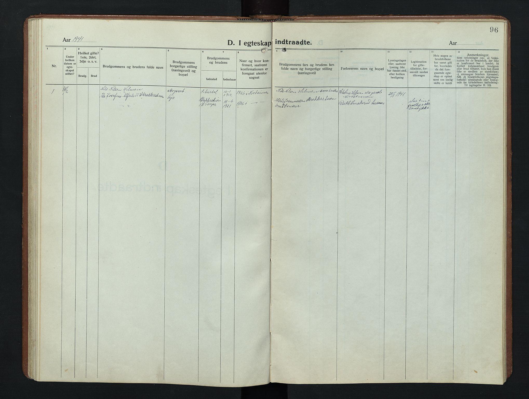SAH, Nordre Land prestekontor, Klokkerbok nr. 9, 1921-1956, s. 96