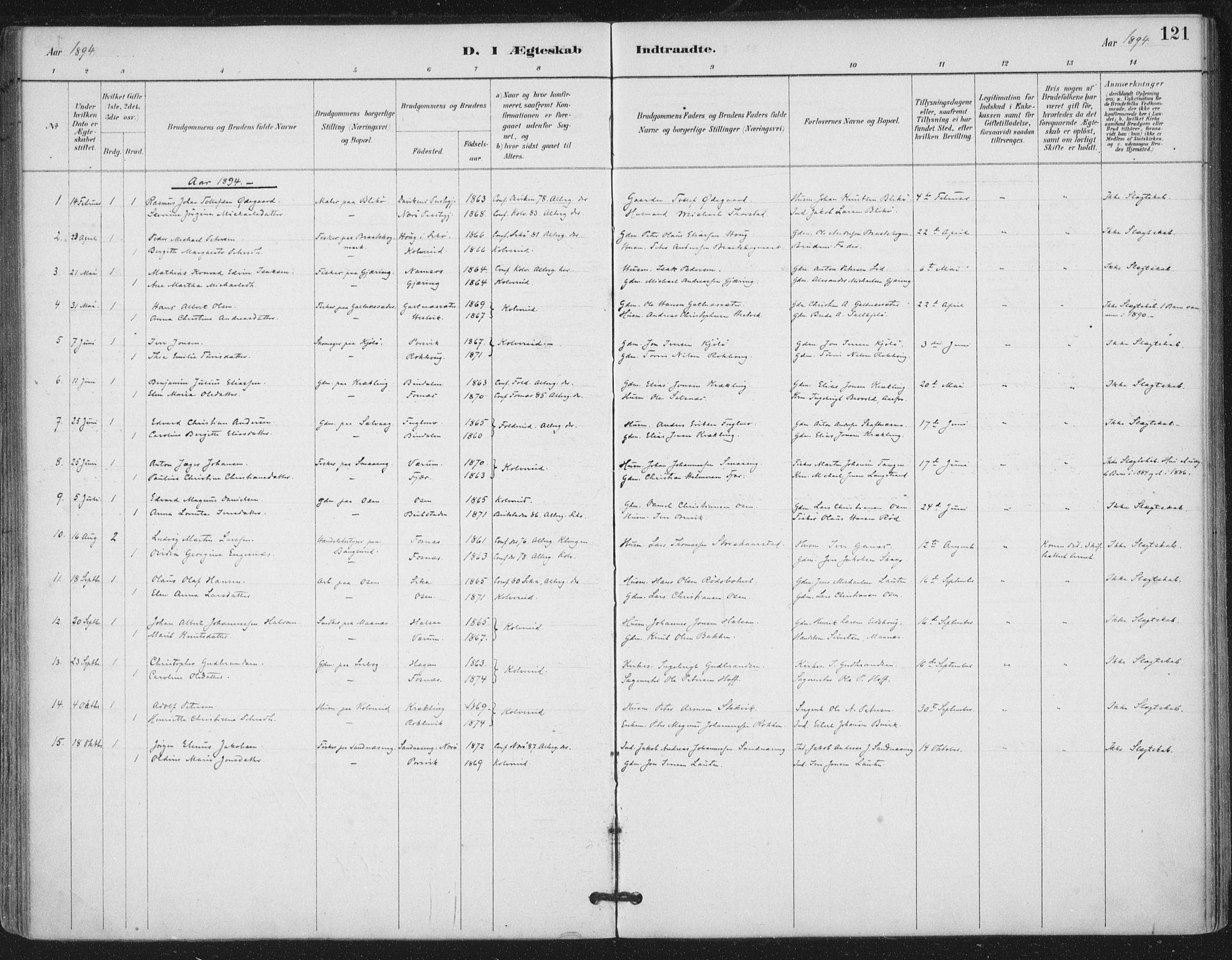 SAT, Ministerialprotokoller, klokkerbøker og fødselsregistre - Nord-Trøndelag, 780/L0644: Ministerialbok nr. 780A08, 1886-1903, s. 121