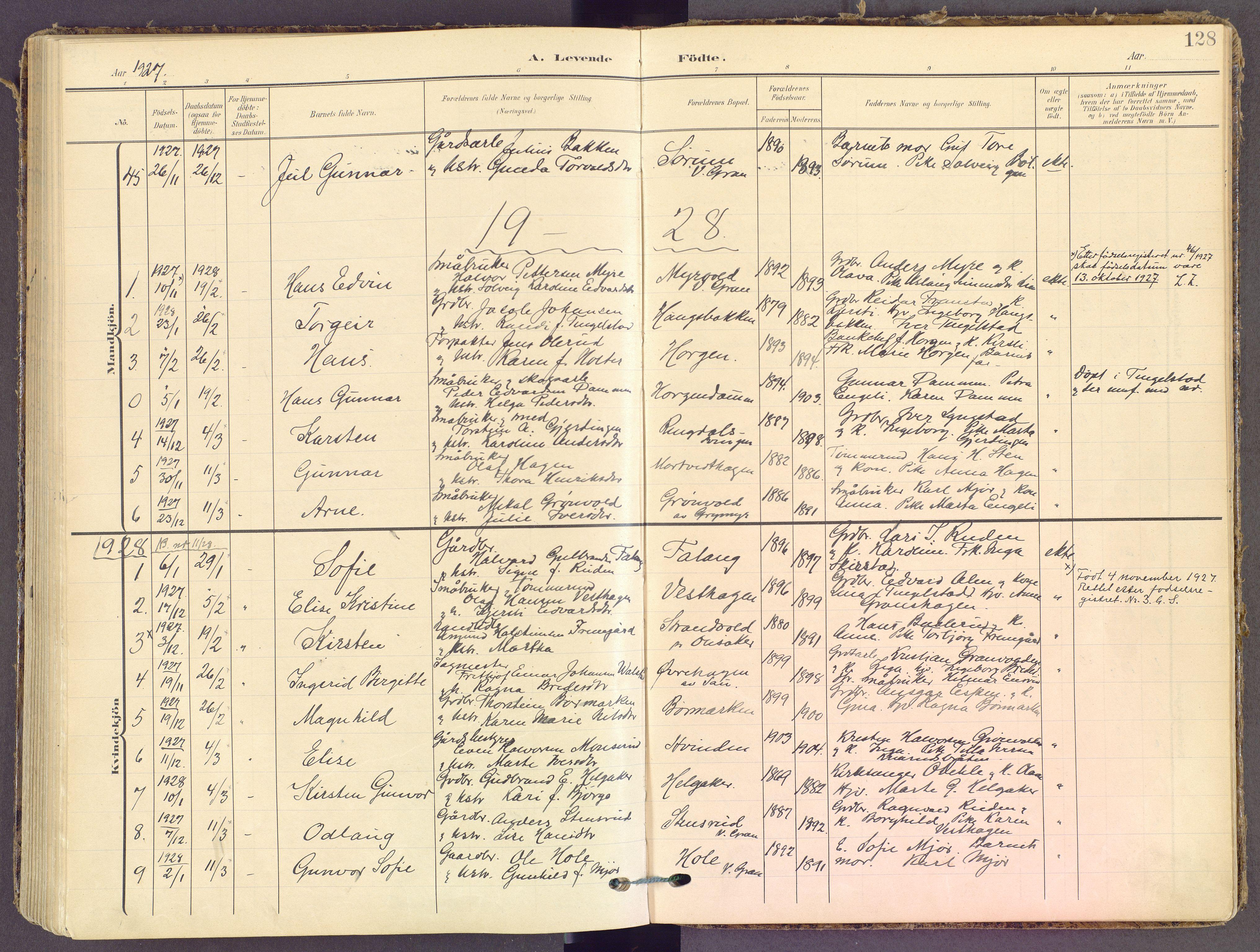 SAH, Gran prestekontor, Ministerialbok nr. 21, 1908-1932, s. 128