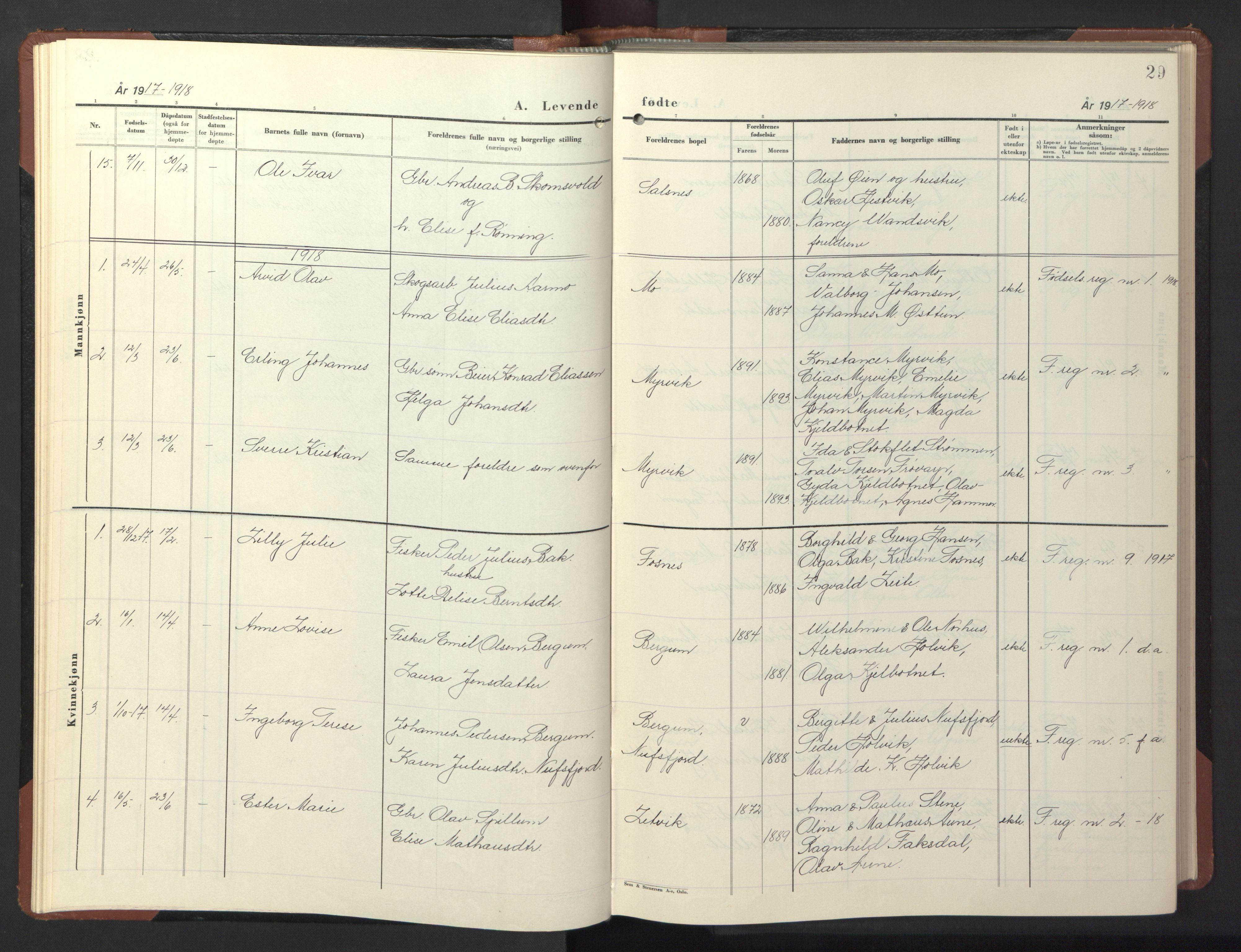SAT, Ministerialprotokoller, klokkerbøker og fødselsregistre - Nord-Trøndelag, 773/L0625: Klokkerbok nr. 773C01, 1910-1952, s. 29