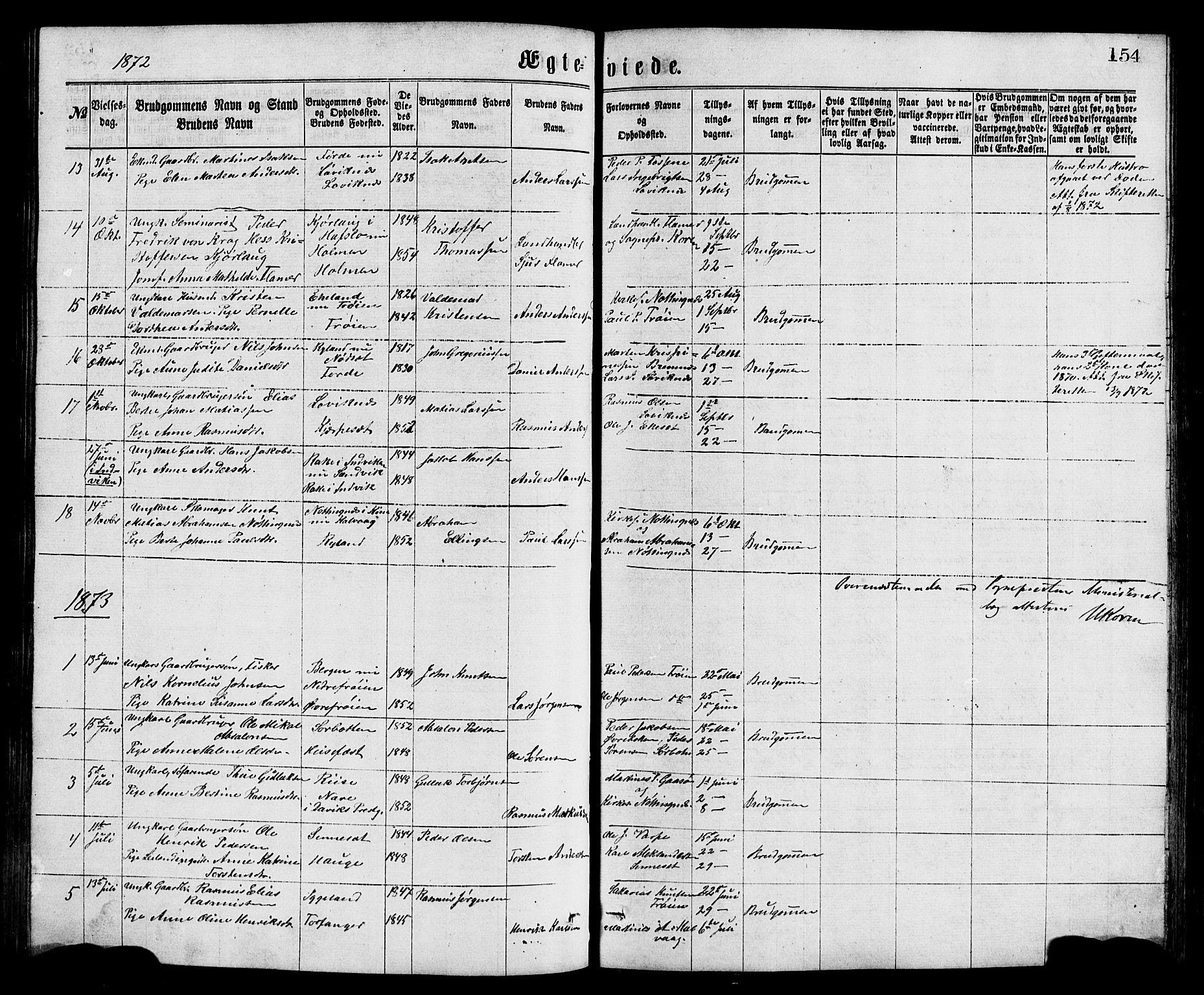 SAB, Bremanger Sokneprestembete, H/Hab: Klokkerbok nr. A 2, 1866-1889, s. 154