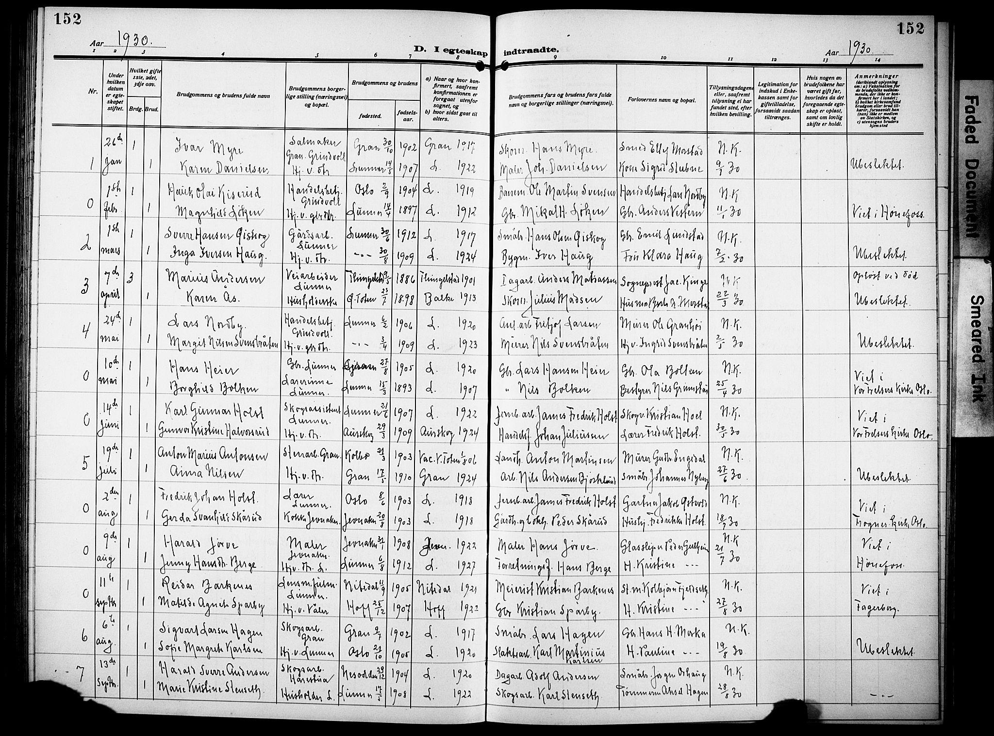SAH, Lunner prestekontor, H/Ha/Hab/L0002: Klokkerbok nr. 2, 1923-1933, s. 152