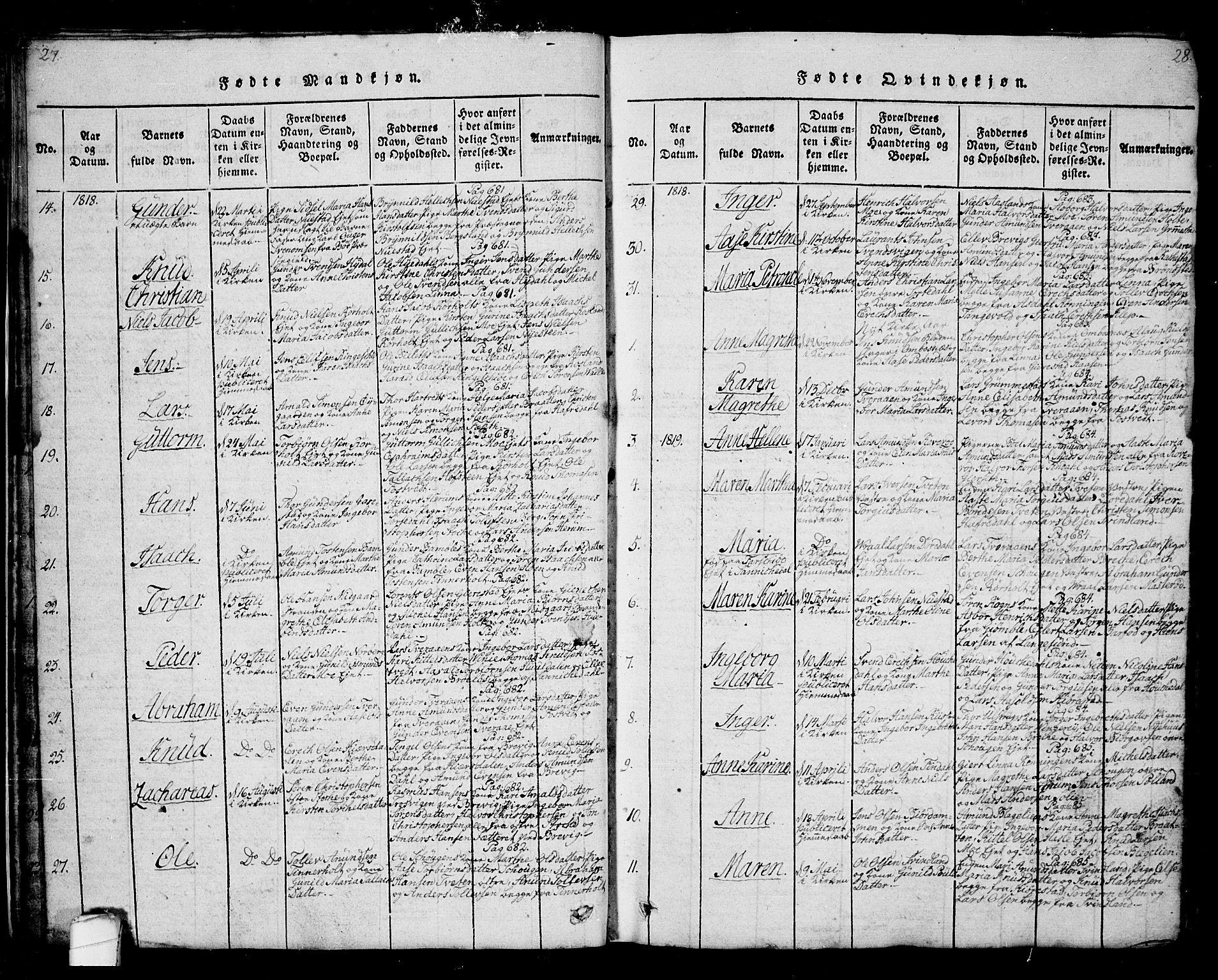 SAKO, Bamble kirkebøker, G/Ga/L0005: Klokkerbok nr. I 5, 1814-1855, s. 27-28