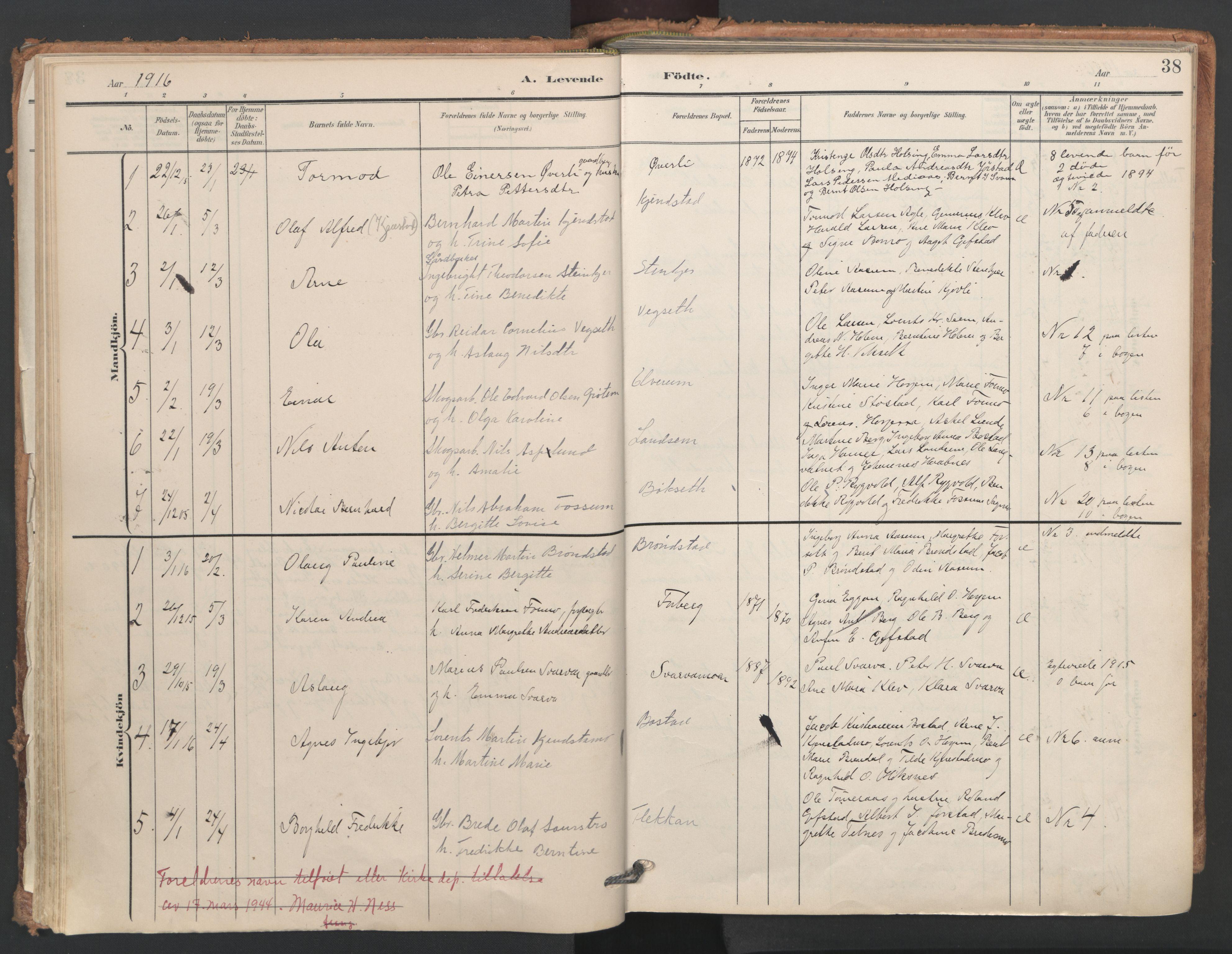 SAT, Ministerialprotokoller, klokkerbøker og fødselsregistre - Nord-Trøndelag, 749/L0477: Ministerialbok nr. 749A11, 1902-1927, s. 38