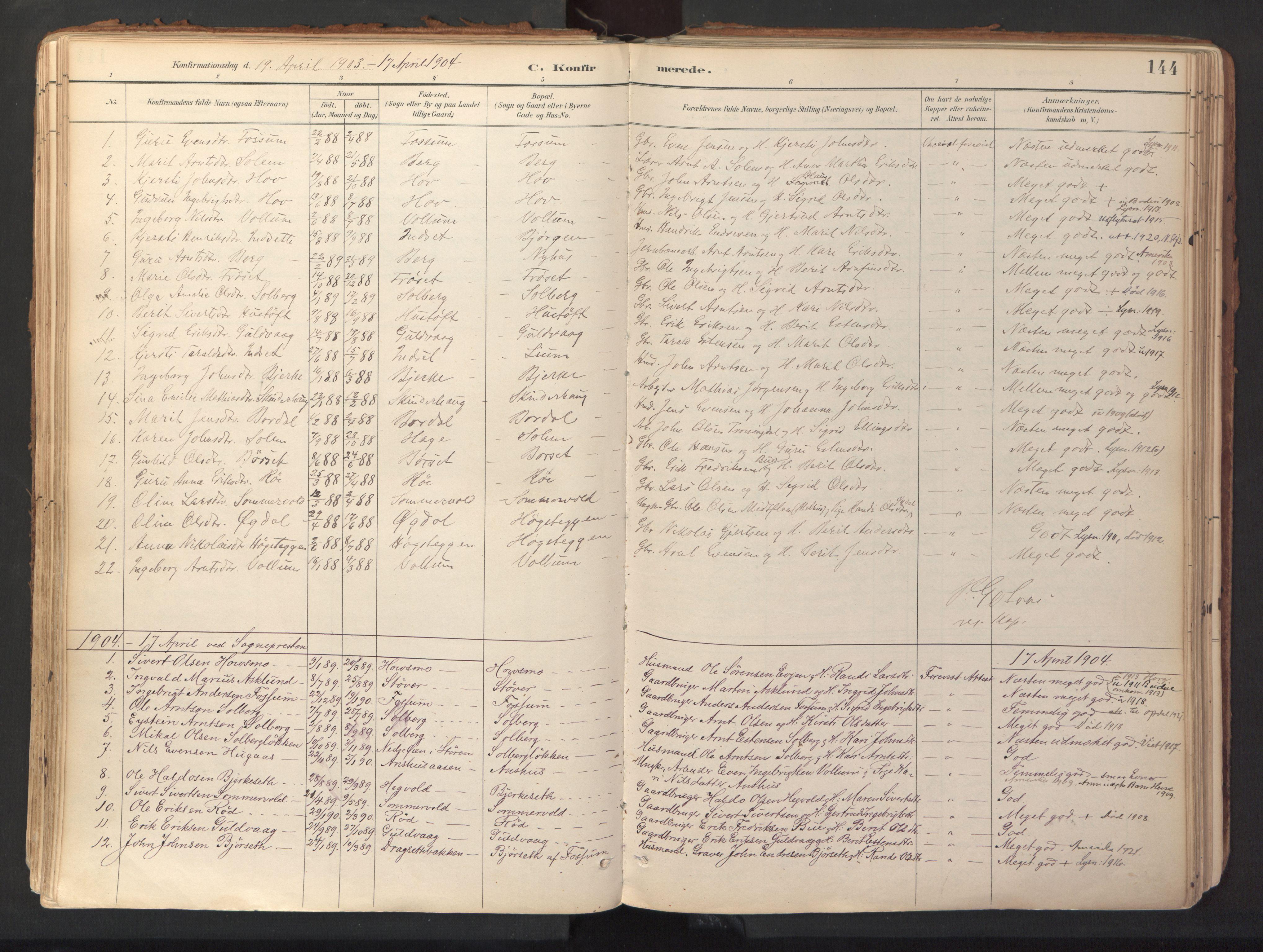 SAT, Ministerialprotokoller, klokkerbøker og fødselsregistre - Sør-Trøndelag, 689/L1041: Ministerialbok nr. 689A06, 1891-1923, s. 144