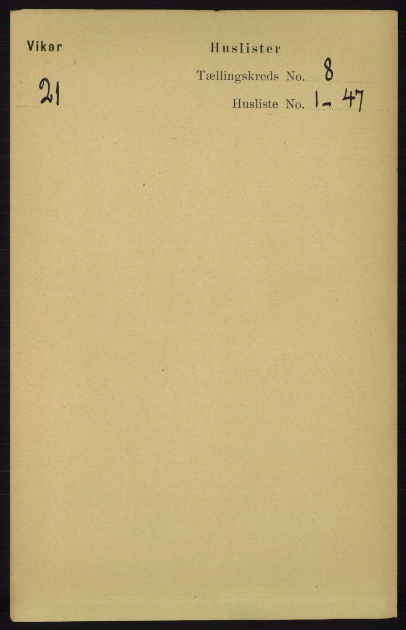 RA, Folketelling 1891 for 1238 Vikør herred, 1891, s. 2275
