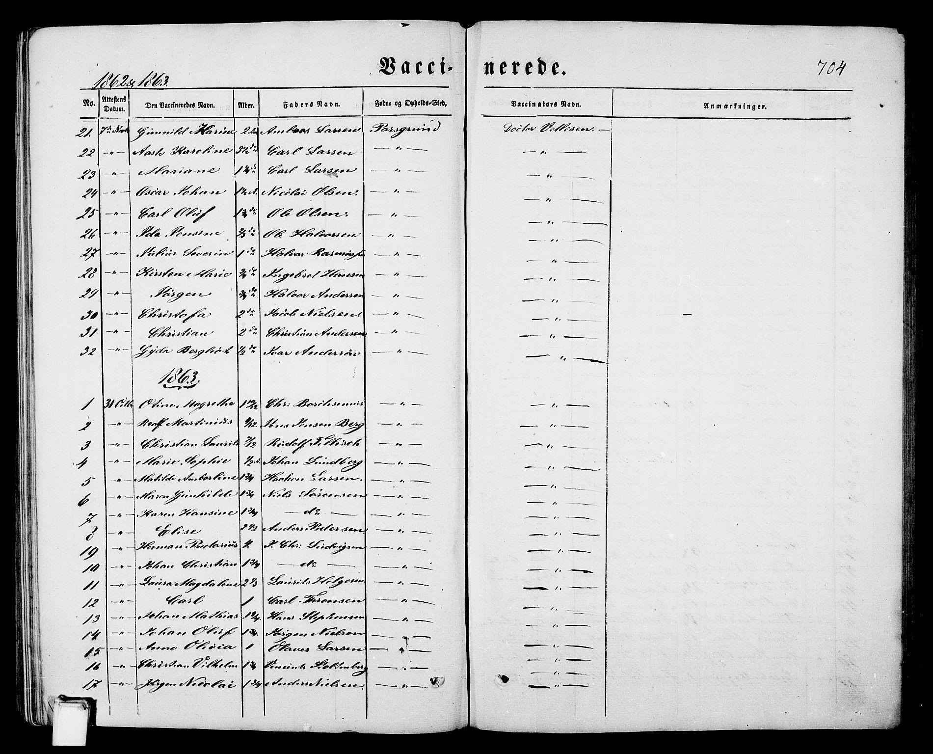 SAKO, Porsgrunn kirkebøker , G/Gb/L0004: Klokkerbok nr. II 4, 1853-1882, s. 704