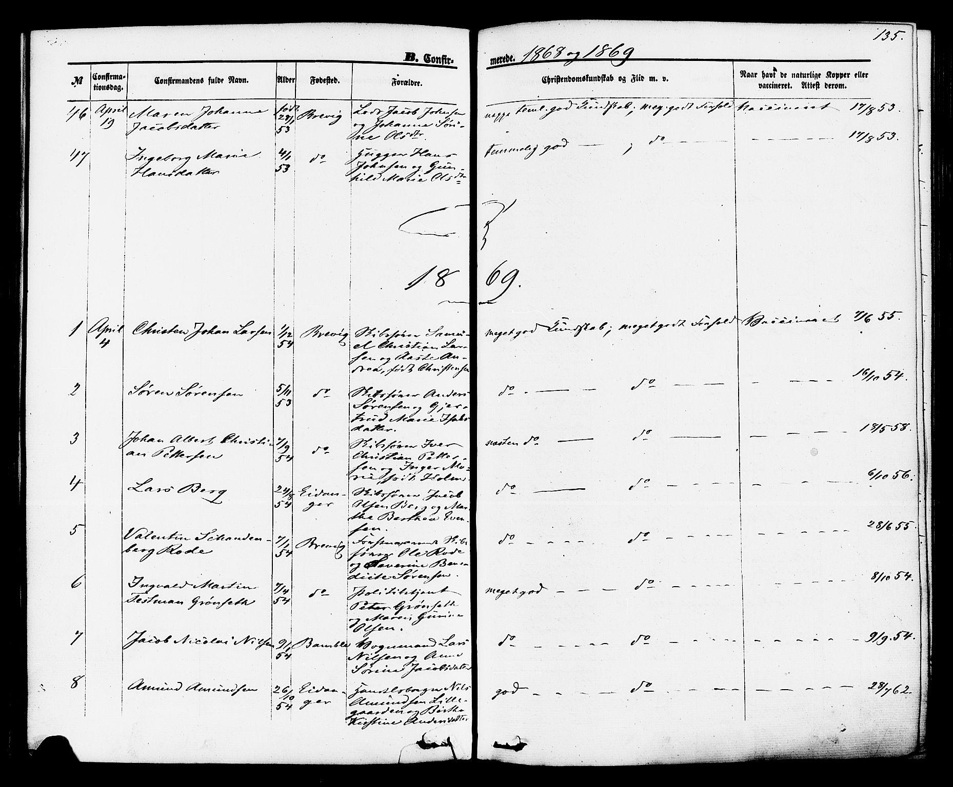 SAKO, Brevik kirkebøker, F/Fa/L0006: Ministerialbok nr. 6, 1866-1881, s. 135