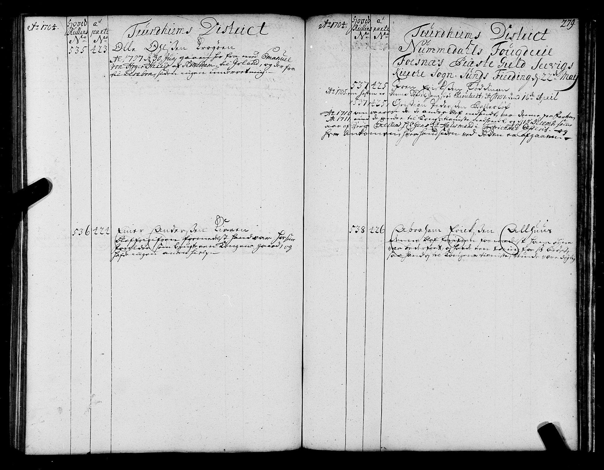 SAT, Sjøinnrulleringen - Trondhjemske distrikt, 01/L0004: Ruller over sjøfolk i Trondhjem by, 1704-1710, s. 279