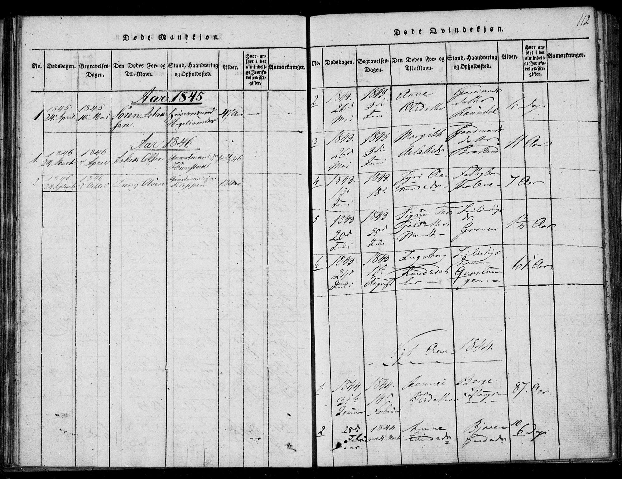 SAKO, Lårdal kirkebøker, F/Fb/L0001: Ministerialbok nr. II 1, 1815-1860, s. 112
