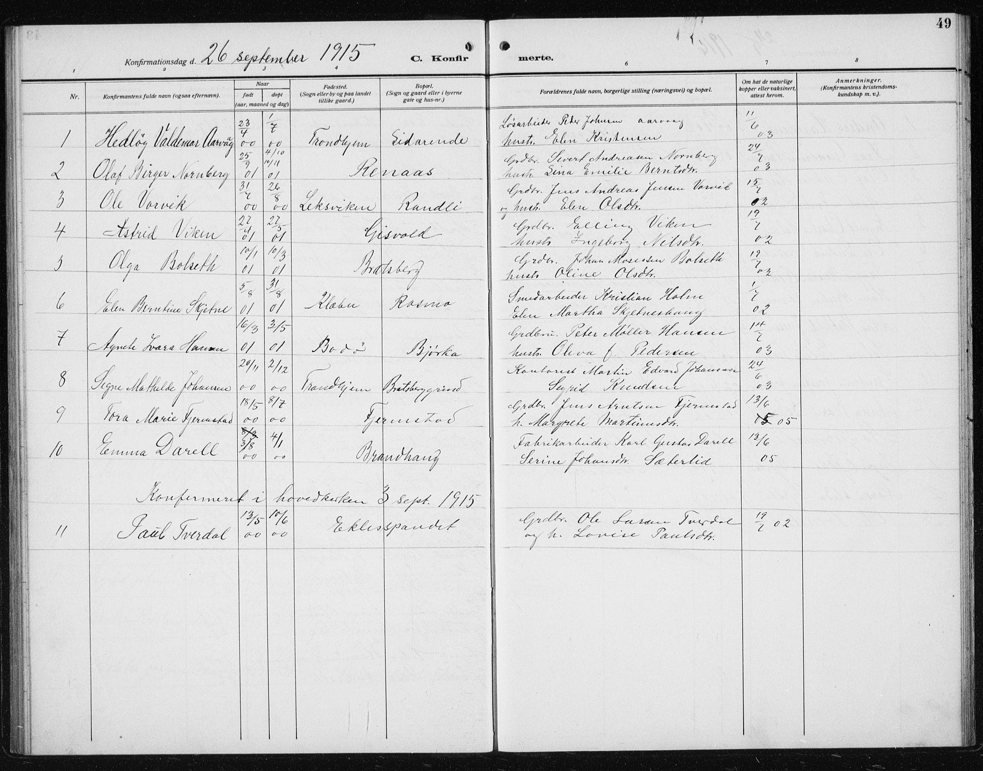 SAT, Ministerialprotokoller, klokkerbøker og fødselsregistre - Sør-Trøndelag, 608/L0342: Klokkerbok nr. 608C08, 1912-1938, s. 49
