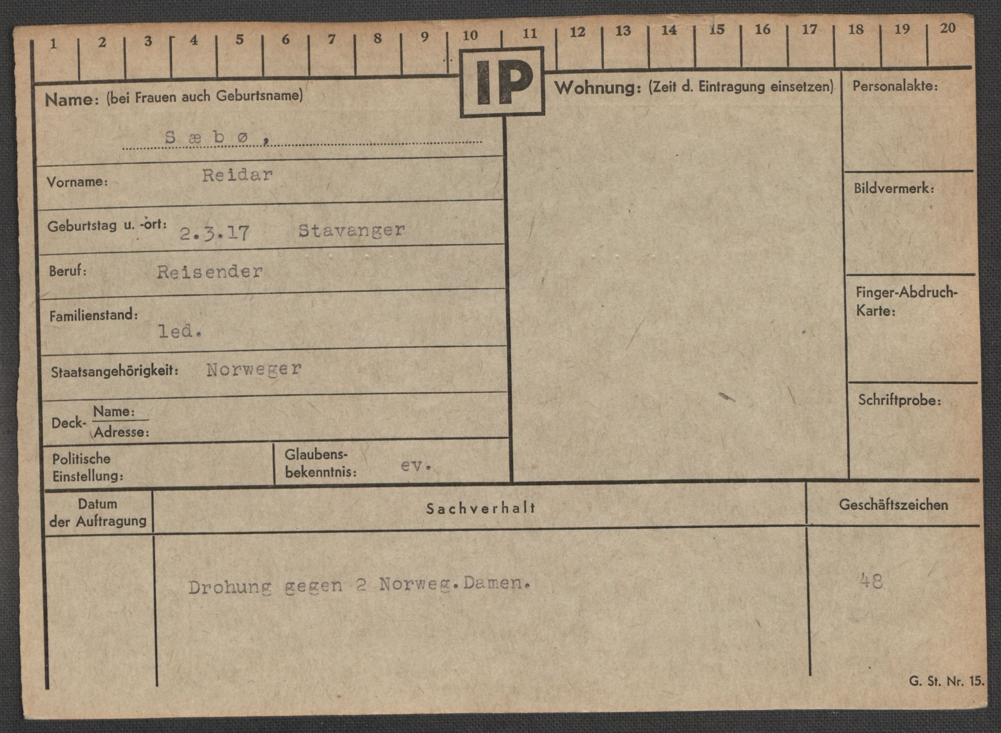 RA, Befehlshaber der Sicherheitspolizei und des SD, E/Ea/Eaa/L0009: Register over norske fanger i Møllergata 19: Ru-Sy, 1940-1945, s. 1662