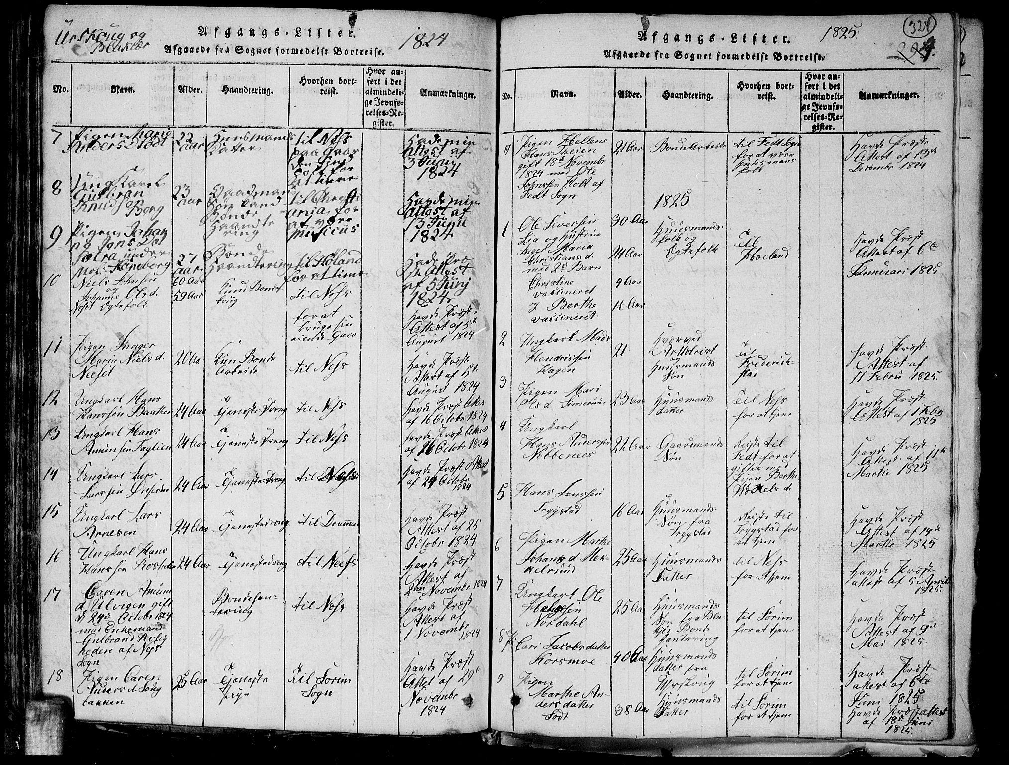 SAO, Aurskog prestekontor Kirkebøker, G/Ga/L0001: Klokkerbok nr. I 1, 1814-1829, s. 324