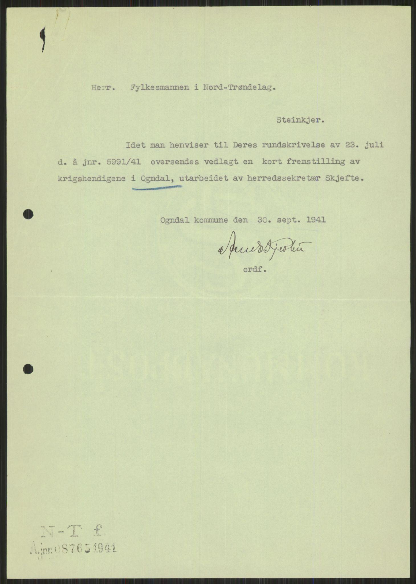 RA, Forsvaret, Forsvarets krigshistoriske avdeling, Y/Ya/L0016: II-C-11-31 - Fylkesmenn.  Rapporter om krigsbegivenhetene 1940., 1940, s. 526