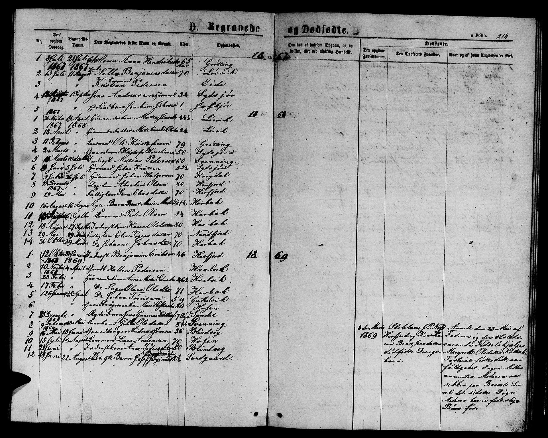 SAT, Ministerialprotokoller, klokkerbøker og fødselsregistre - Sør-Trøndelag, 656/L0695: Klokkerbok nr. 656C01, 1867-1889, s. 214
