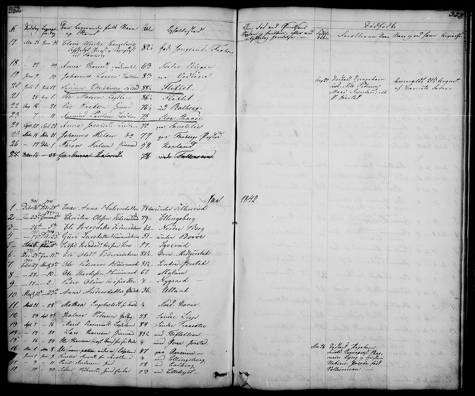 SAH, Fåberg prestekontor, Klokkerbok nr. 5, 1837-1864, s. 352-353