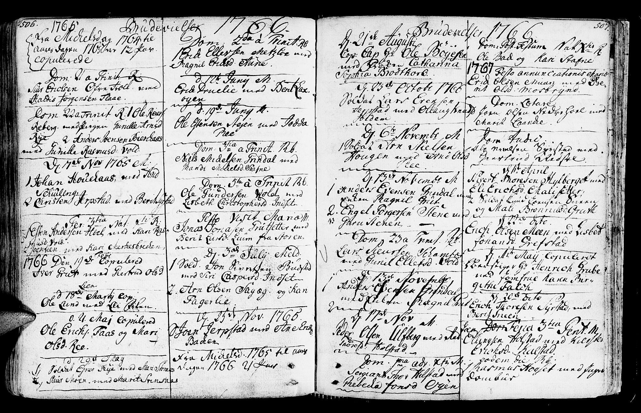 SAT, Ministerialprotokoller, klokkerbøker og fødselsregistre - Sør-Trøndelag, 672/L0851: Ministerialbok nr. 672A04, 1751-1775, s. 506-507