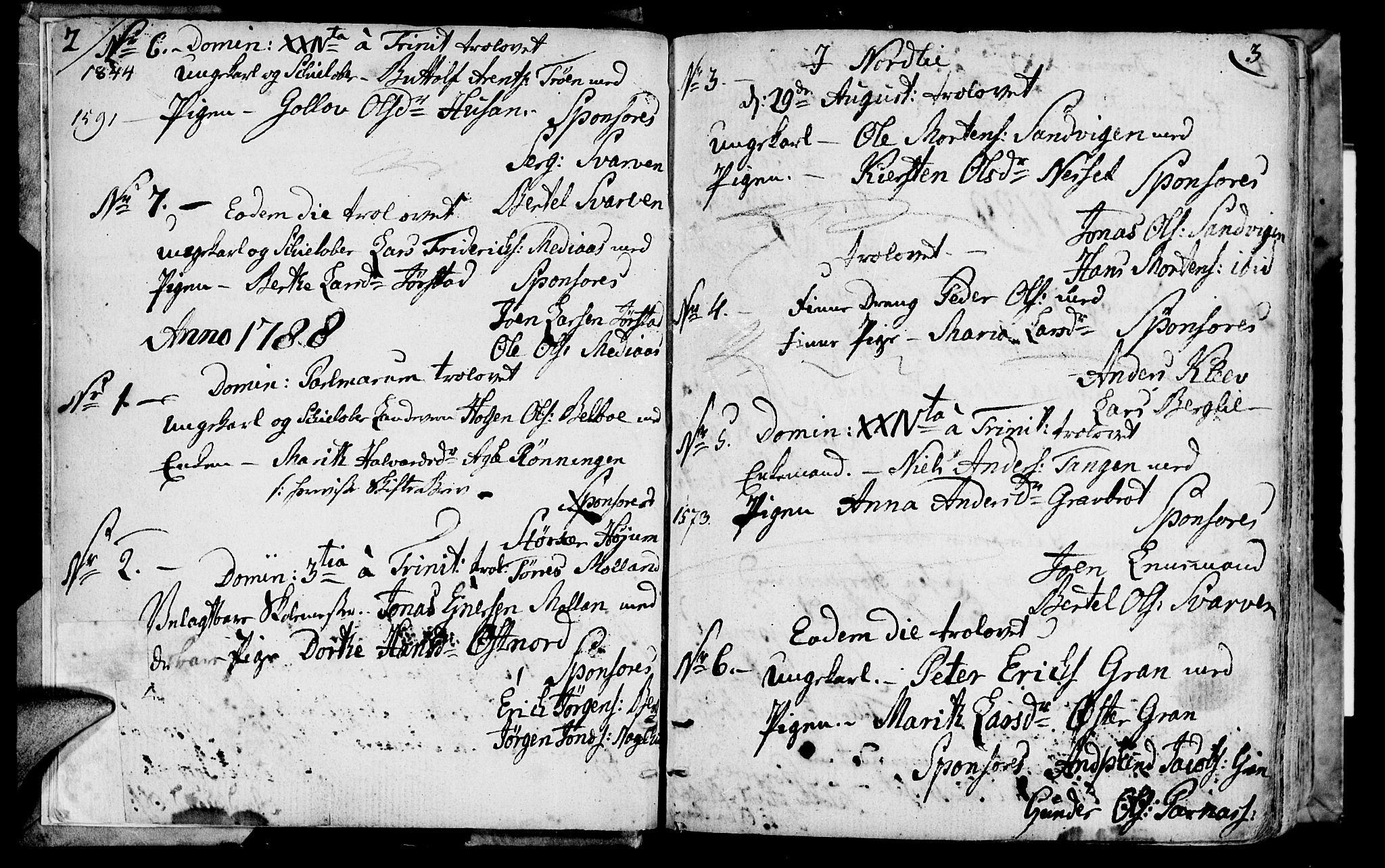 SAT, Ministerialprotokoller, klokkerbøker og fødselsregistre - Nord-Trøndelag, 749/L0468: Ministerialbok nr. 749A02, 1787-1817, s. 2-3