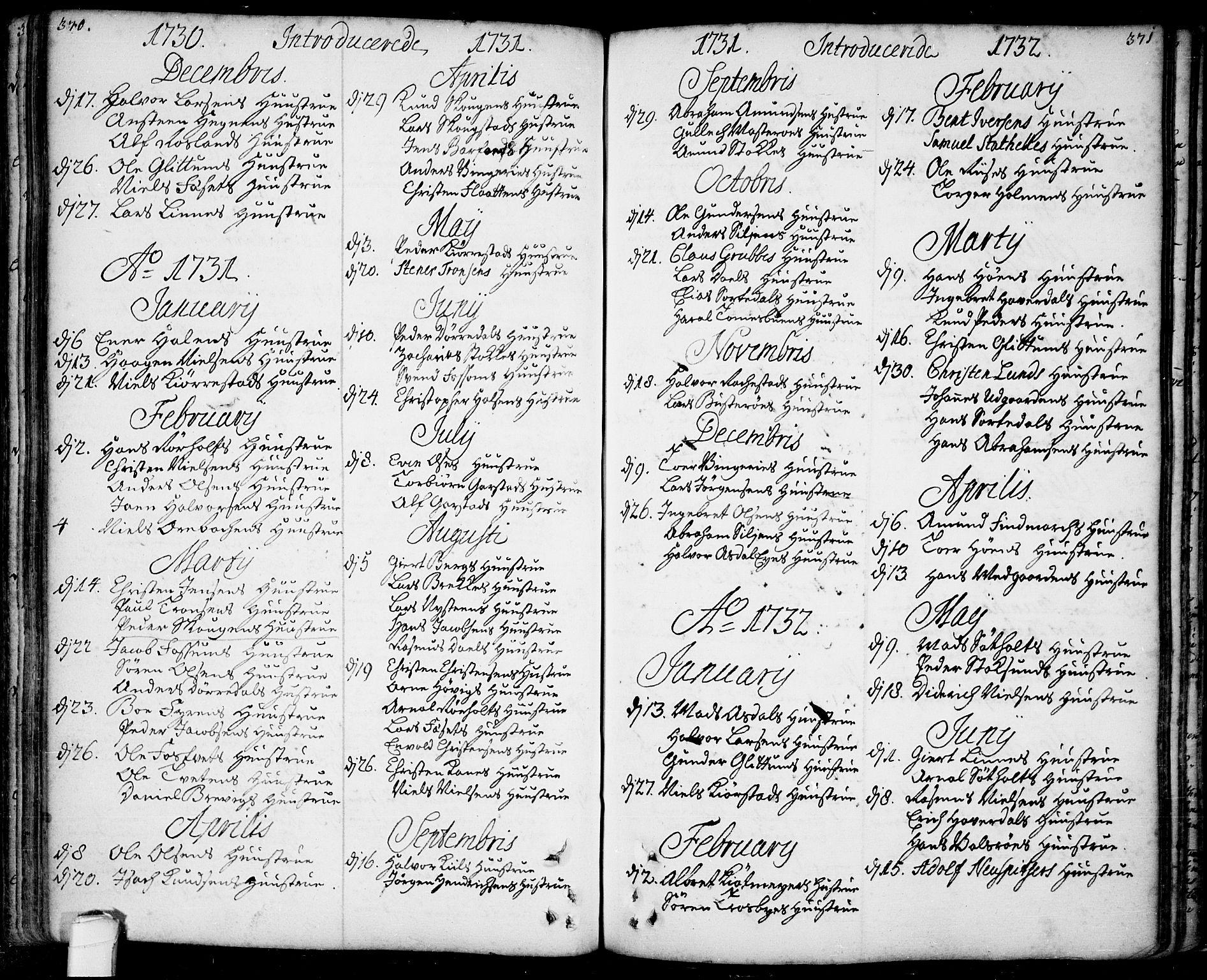 SAKO, Bamble kirkebøker, F/Fa/L0001: Ministerialbok nr. I 1, 1702-1774, s. 370-371
