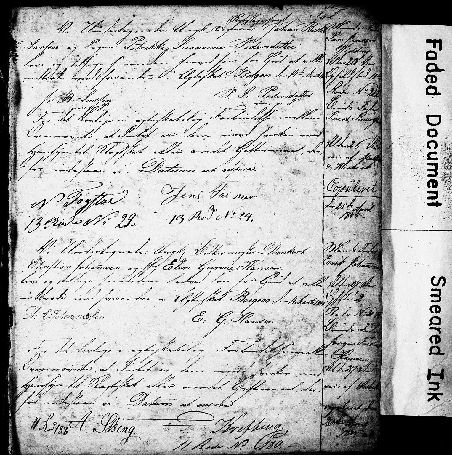 SAB, Domkirken Sokneprestembete, Forlovererklæringer nr. II.5.4, 1845-1852, s. 1